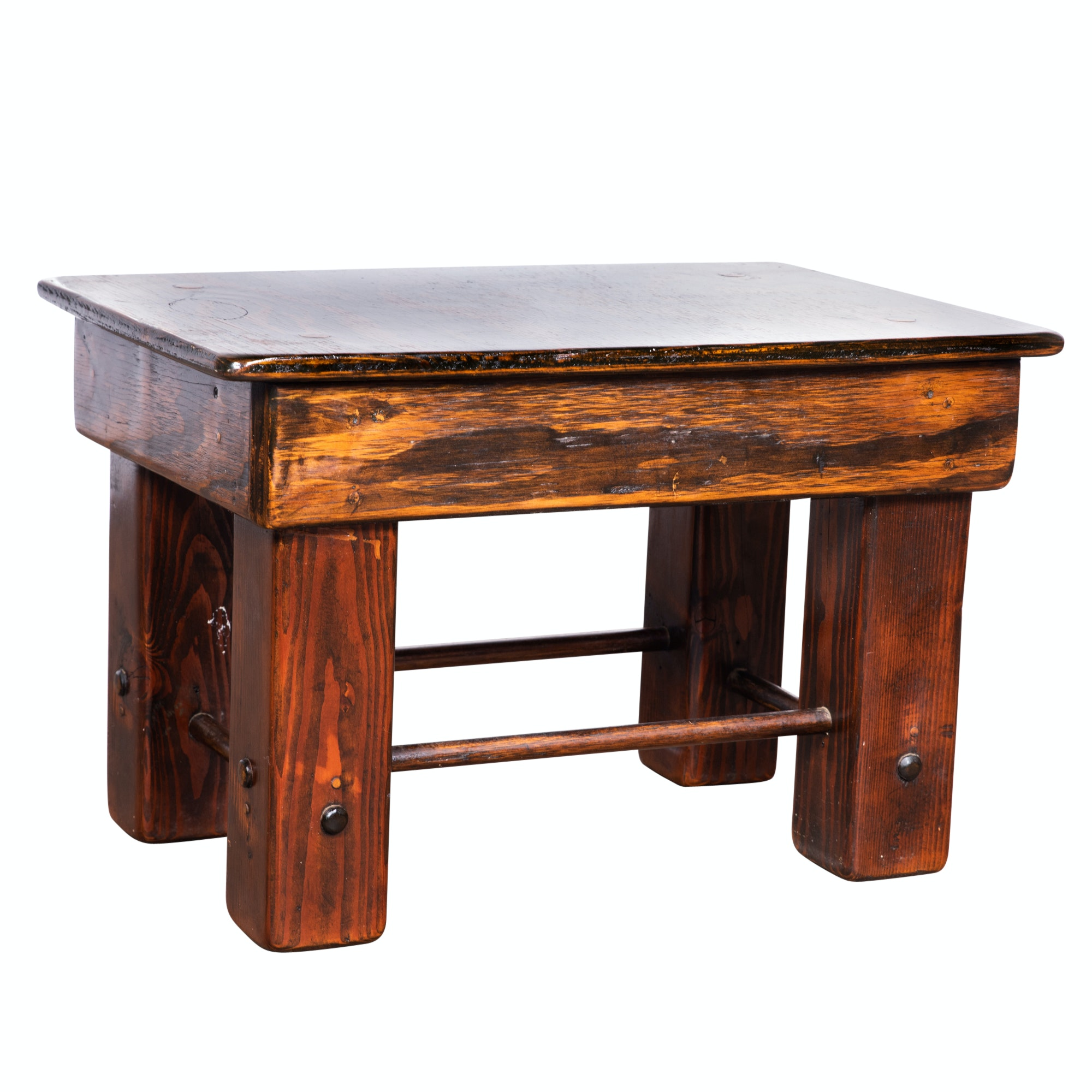 Rustic Style Mixed Wood Footstool, Late 20th Century