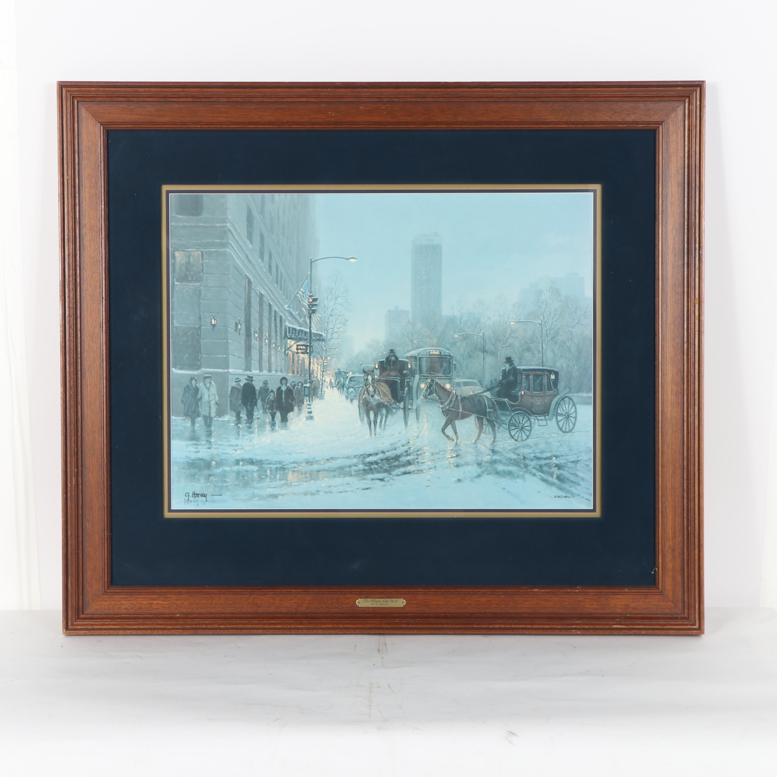 """Gerald Harvey Offset Lithograph """"The Plaza, New York"""""""