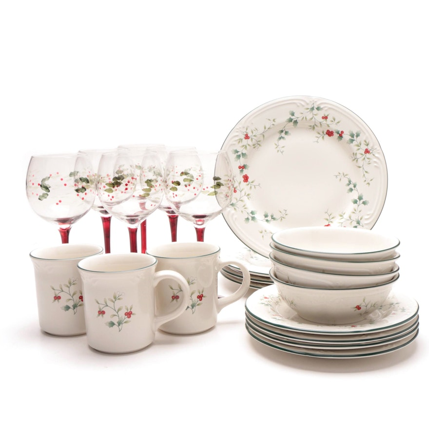 "Pfaltzgraff ""Winterberry"" Dinnerware and Stemware"