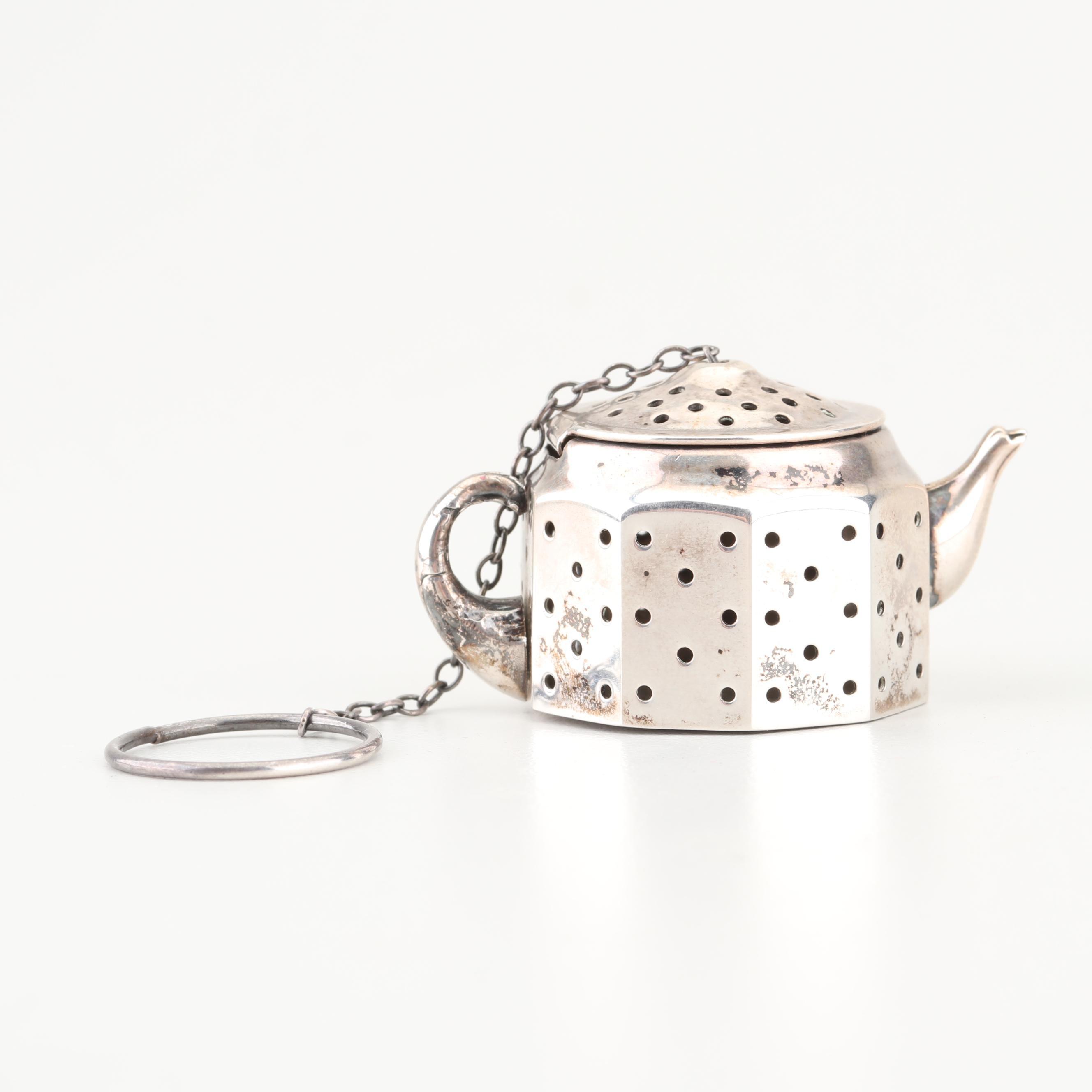 Amcraft Sterling Silver Teapot-Shaped Tea Strainer