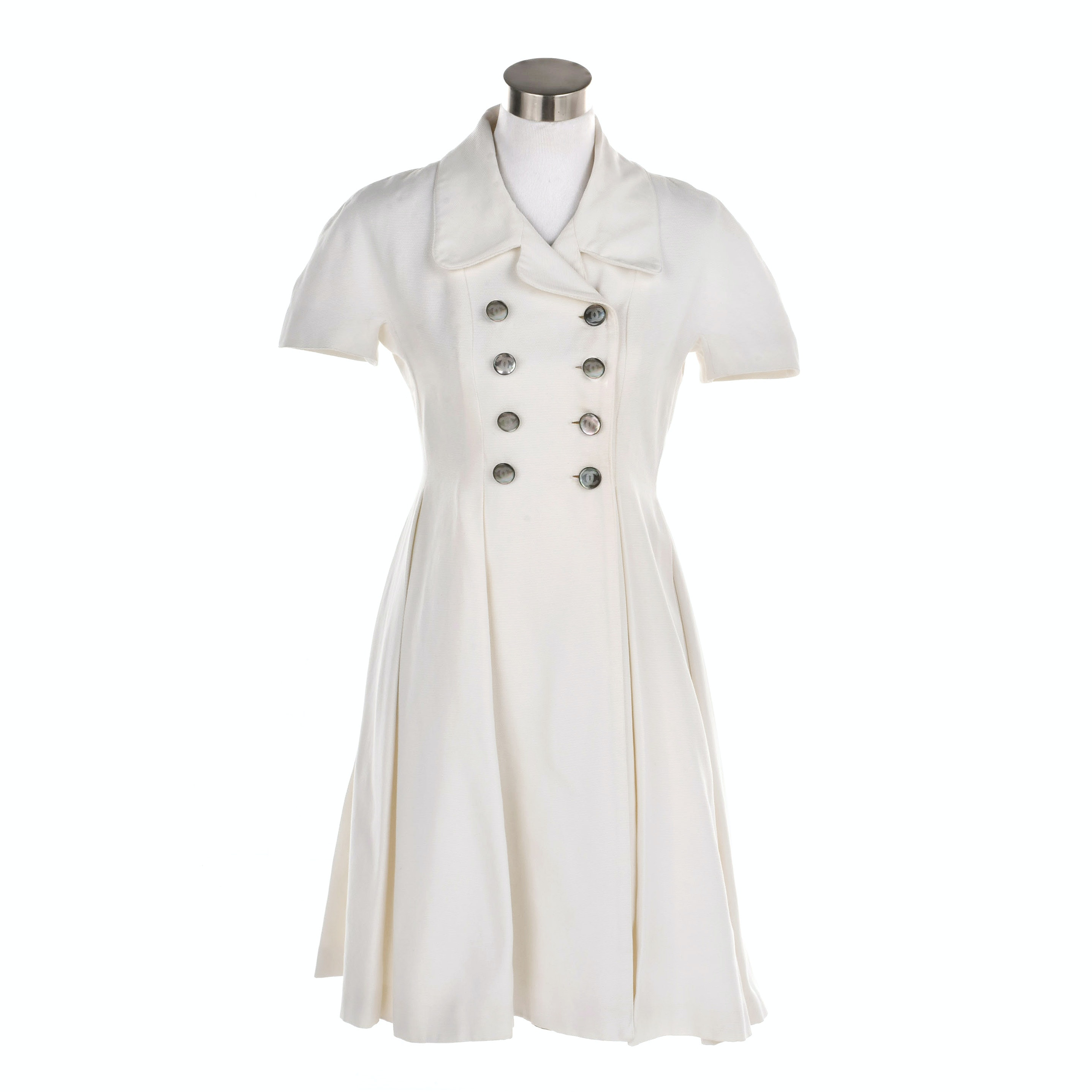 Vintage Chanel Boutique Off-White Double Breasted Cotton Dress
