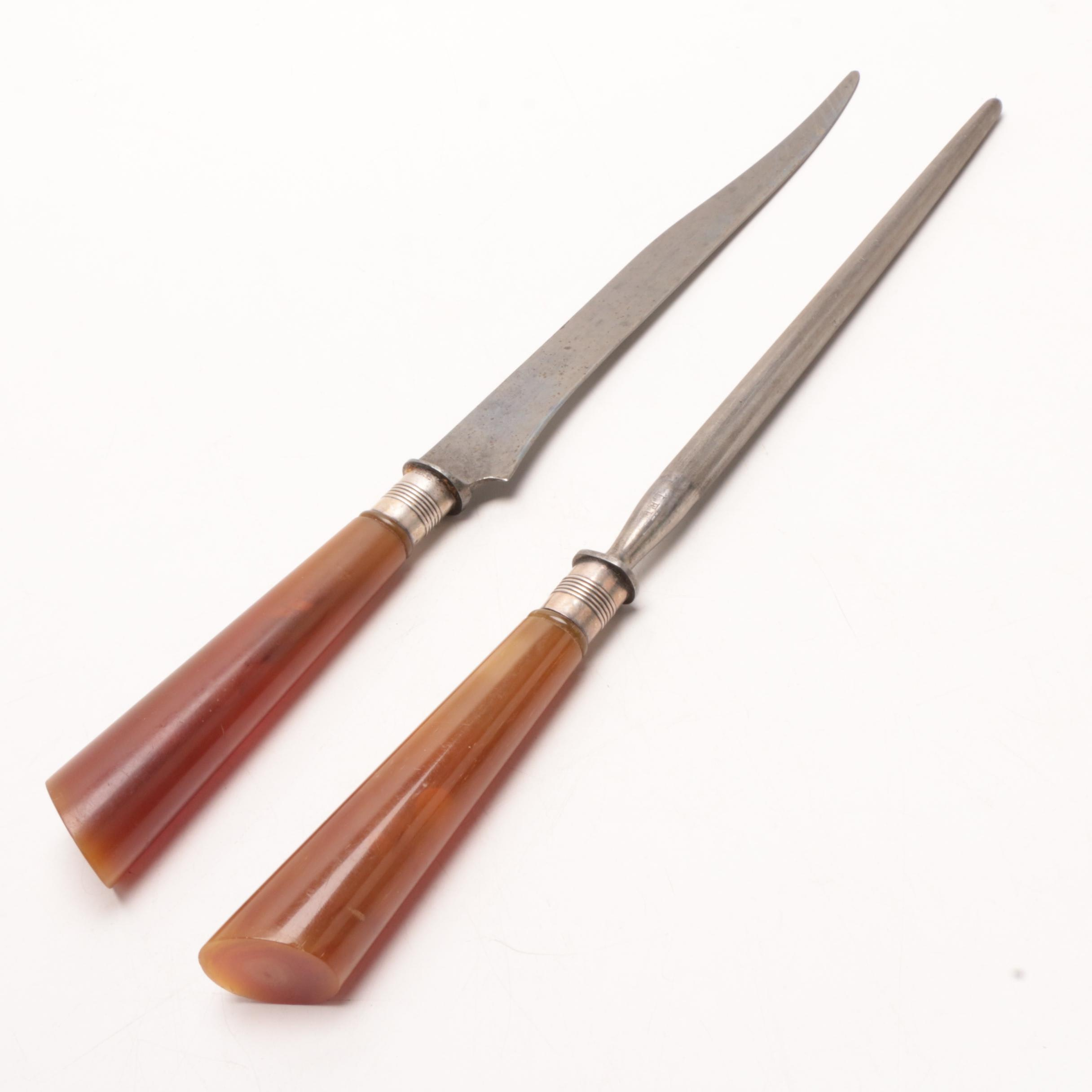 Universal Carving Knife and Sharpening Steel with Sterling Bolsters