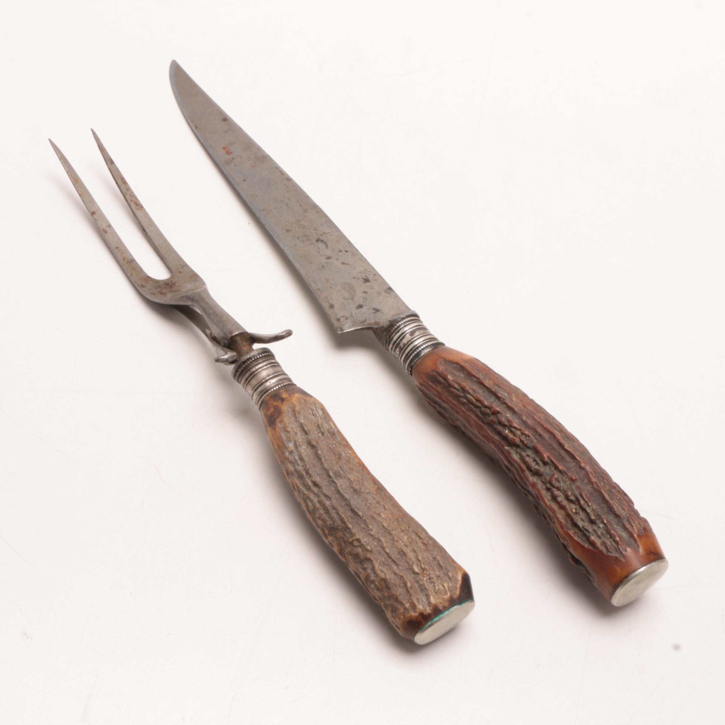 Two-Piece Carving Set with Antler Handles and Sterling Bolsters