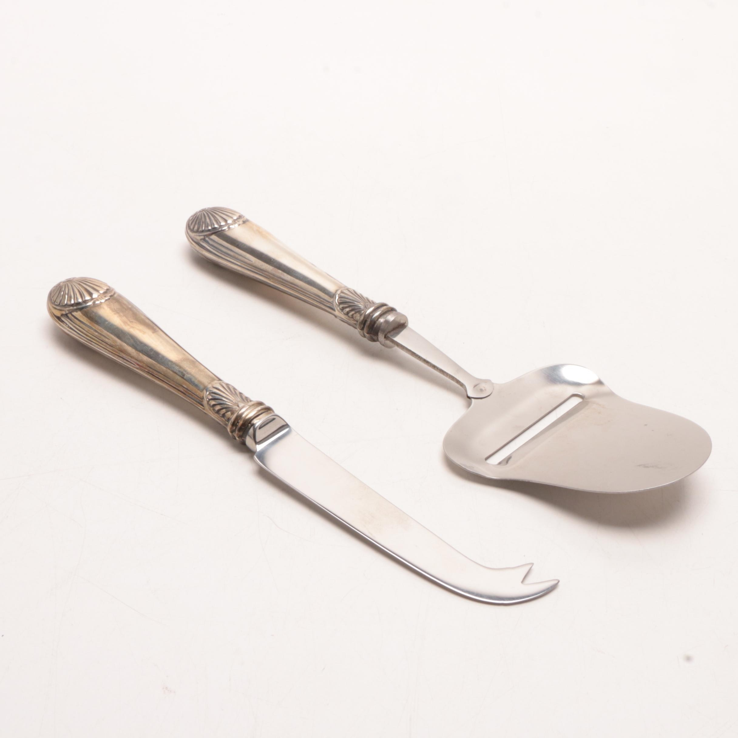 Vintage Cheese Serving Utensils with Sterling Silver Handles