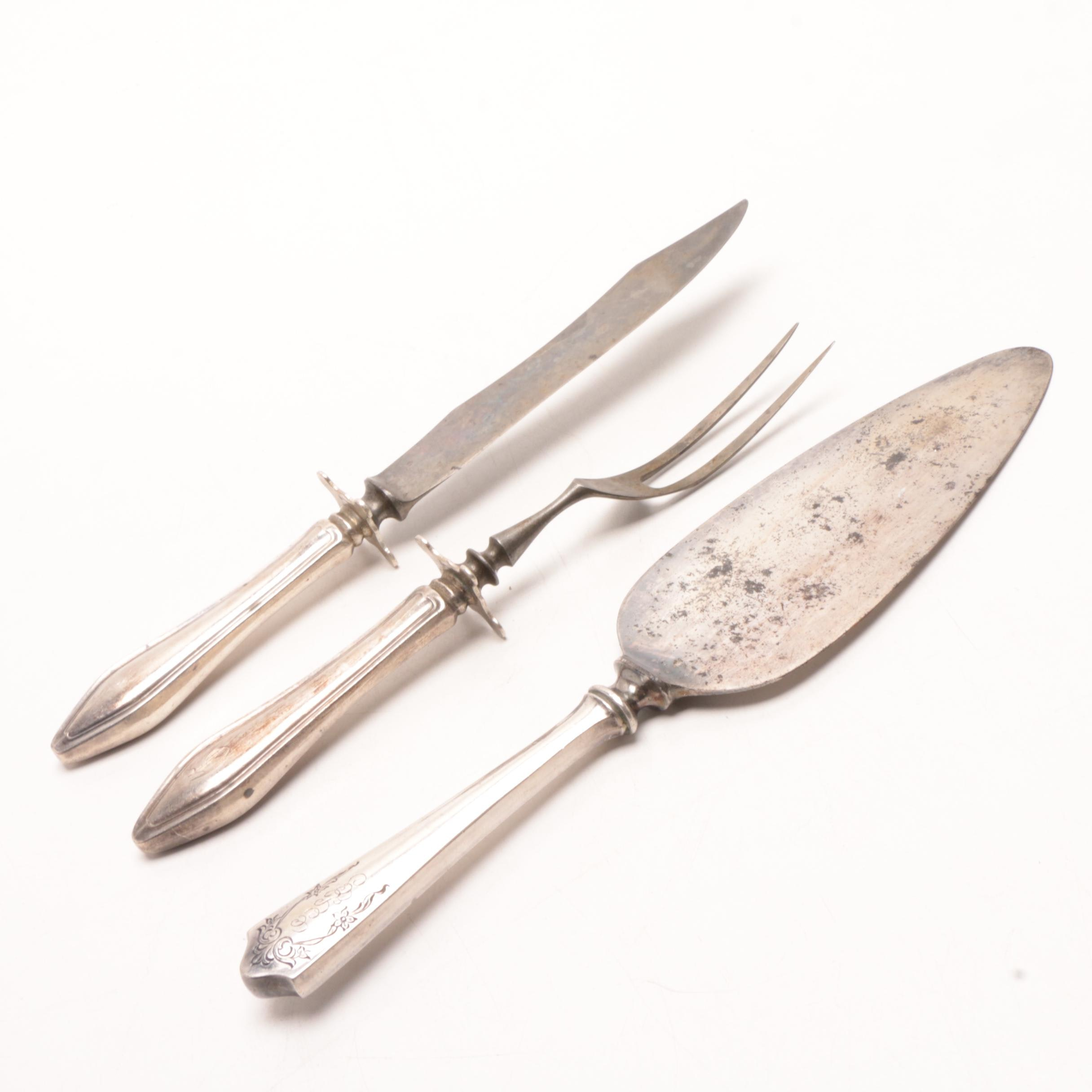 Vintage Three-Piece Serving Set with Sterling Silver Handles