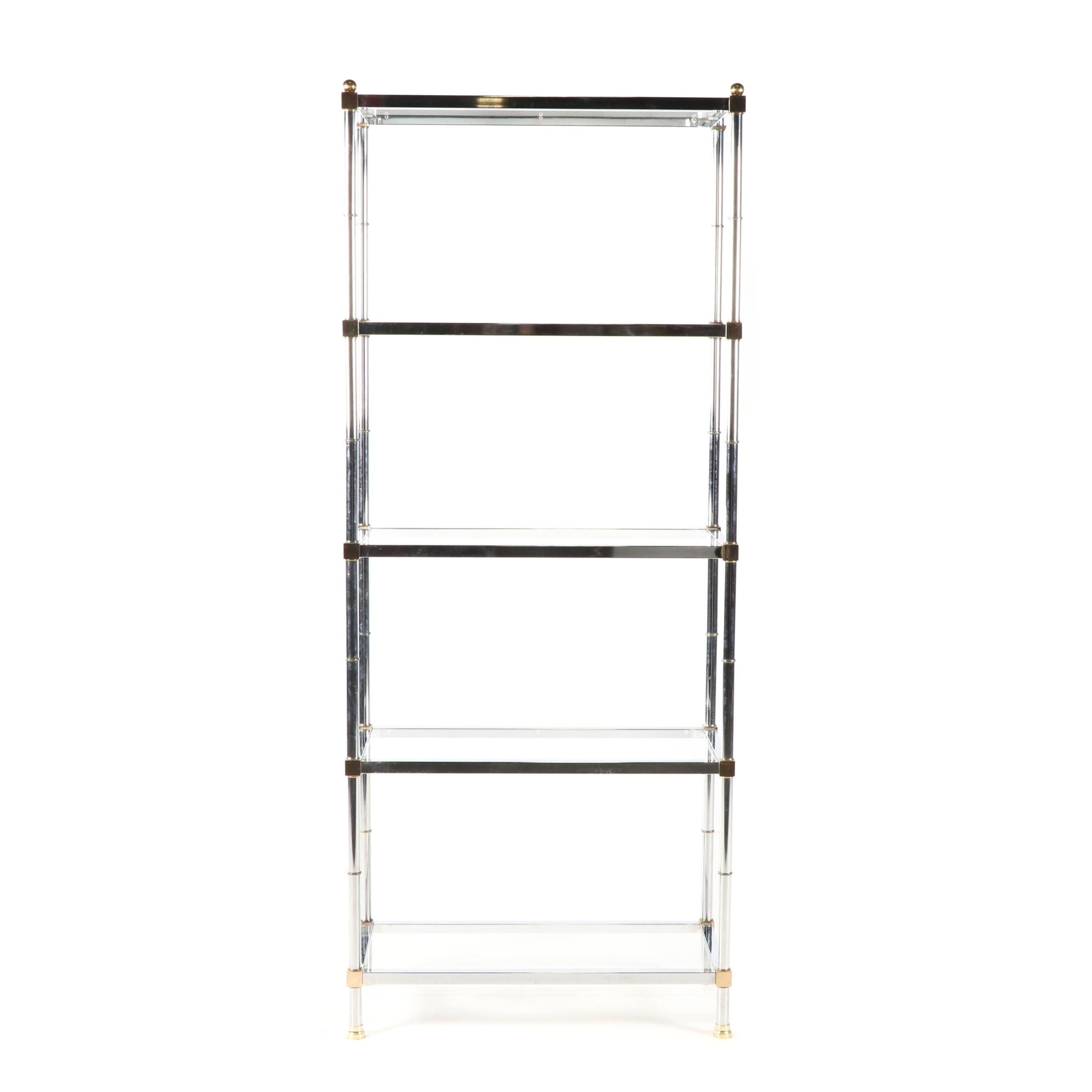 Contemporary Glass and Metal Shelving Unit