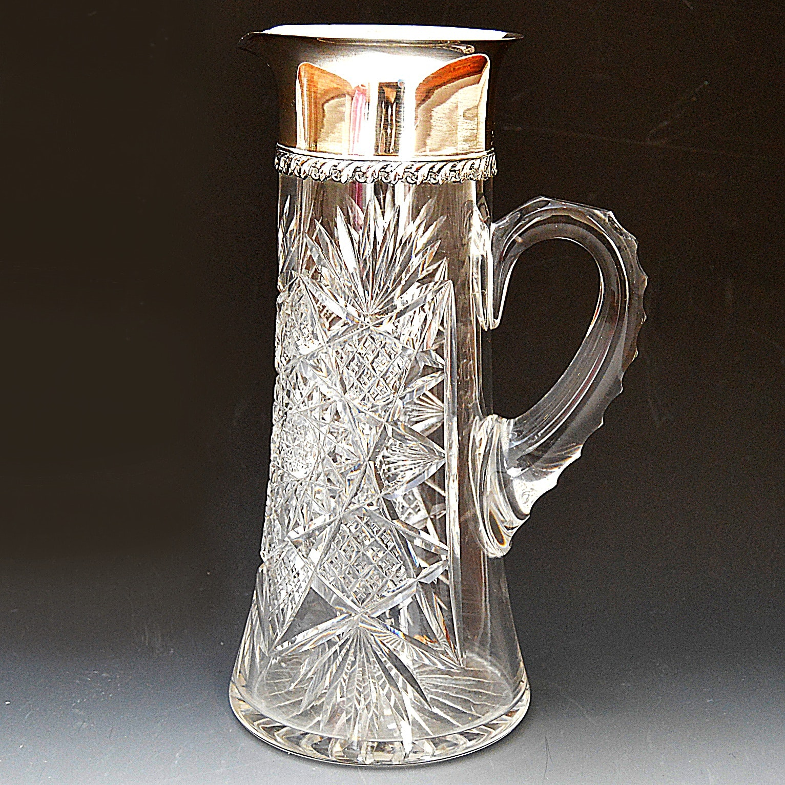 Tiffany & Co. Cut Crystal and Sterling Silver Water Pitcher