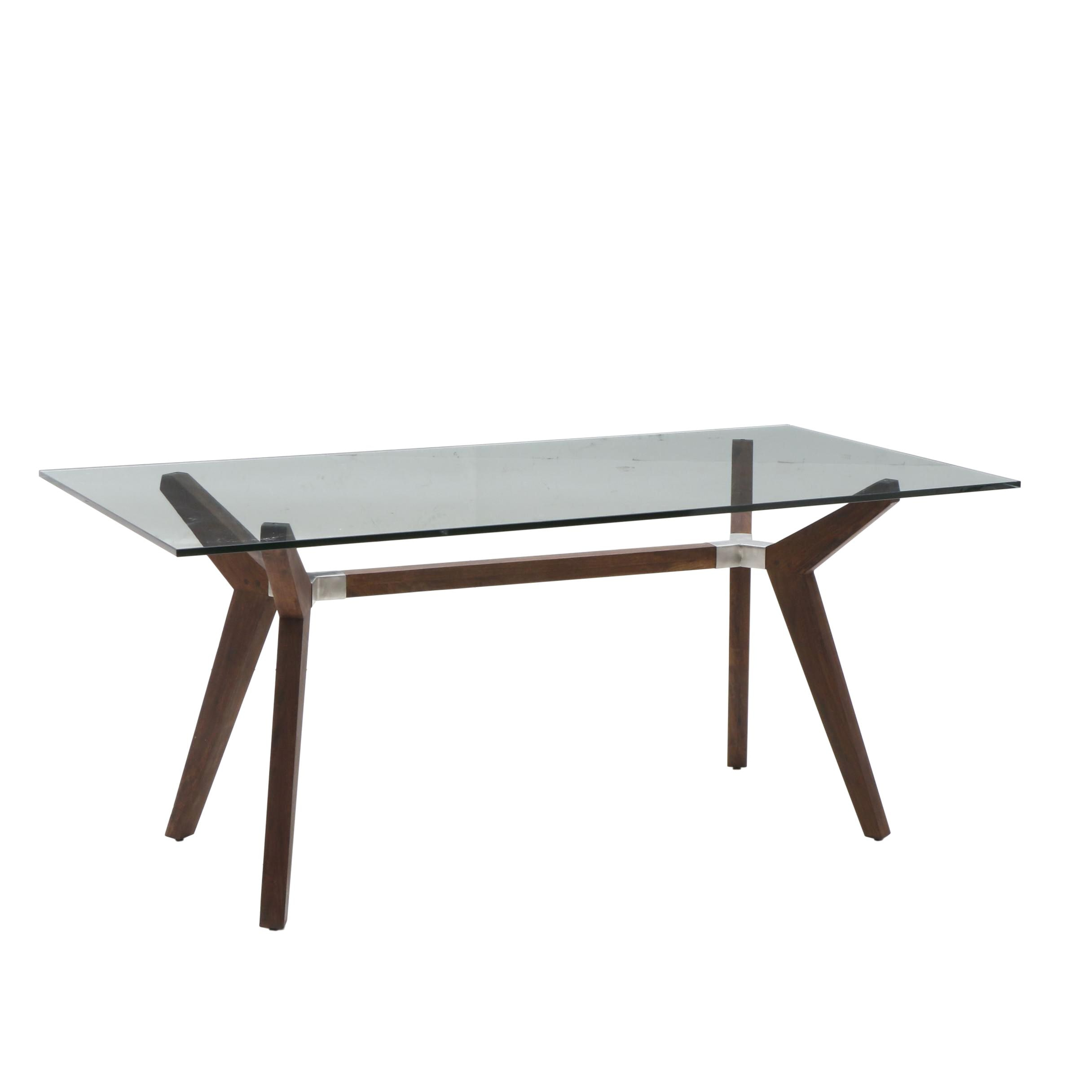 Contemporary Glass and Wood Dining Table by Crate and Barrel