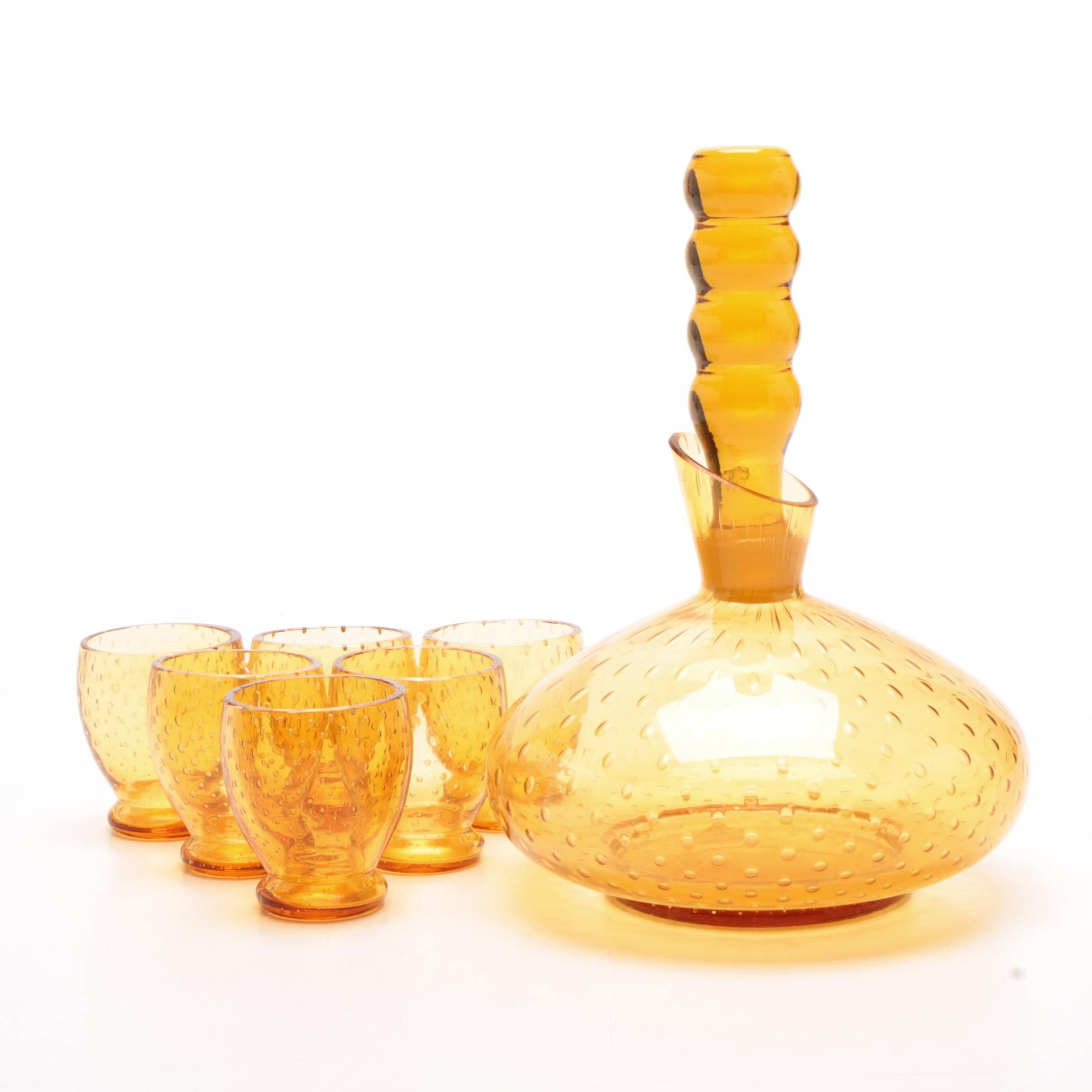 Czechoslovakian Control Bubble Decanter and Glasses