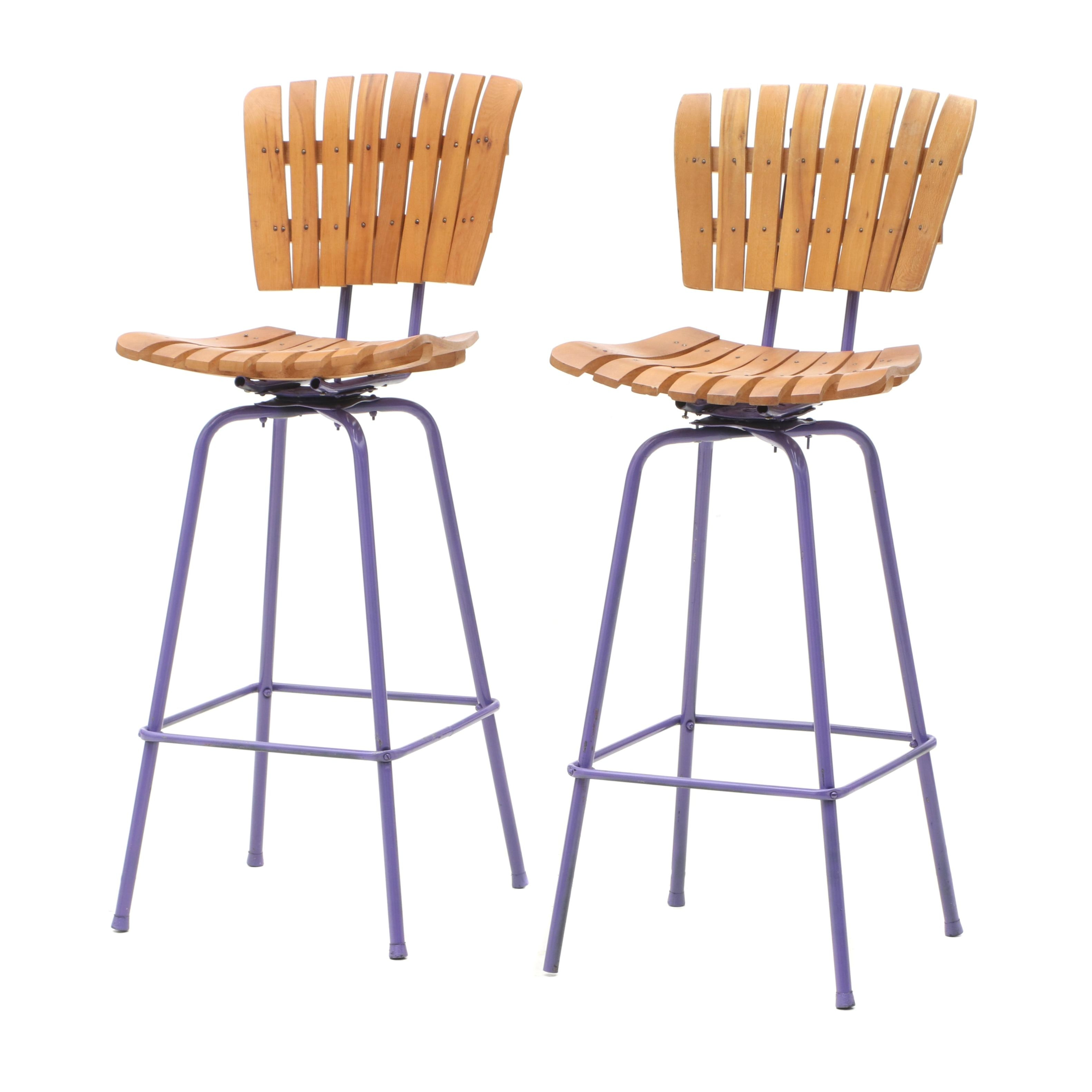 Mid Century Modern Wood and Metal Barstools in the Style of Umanoff
