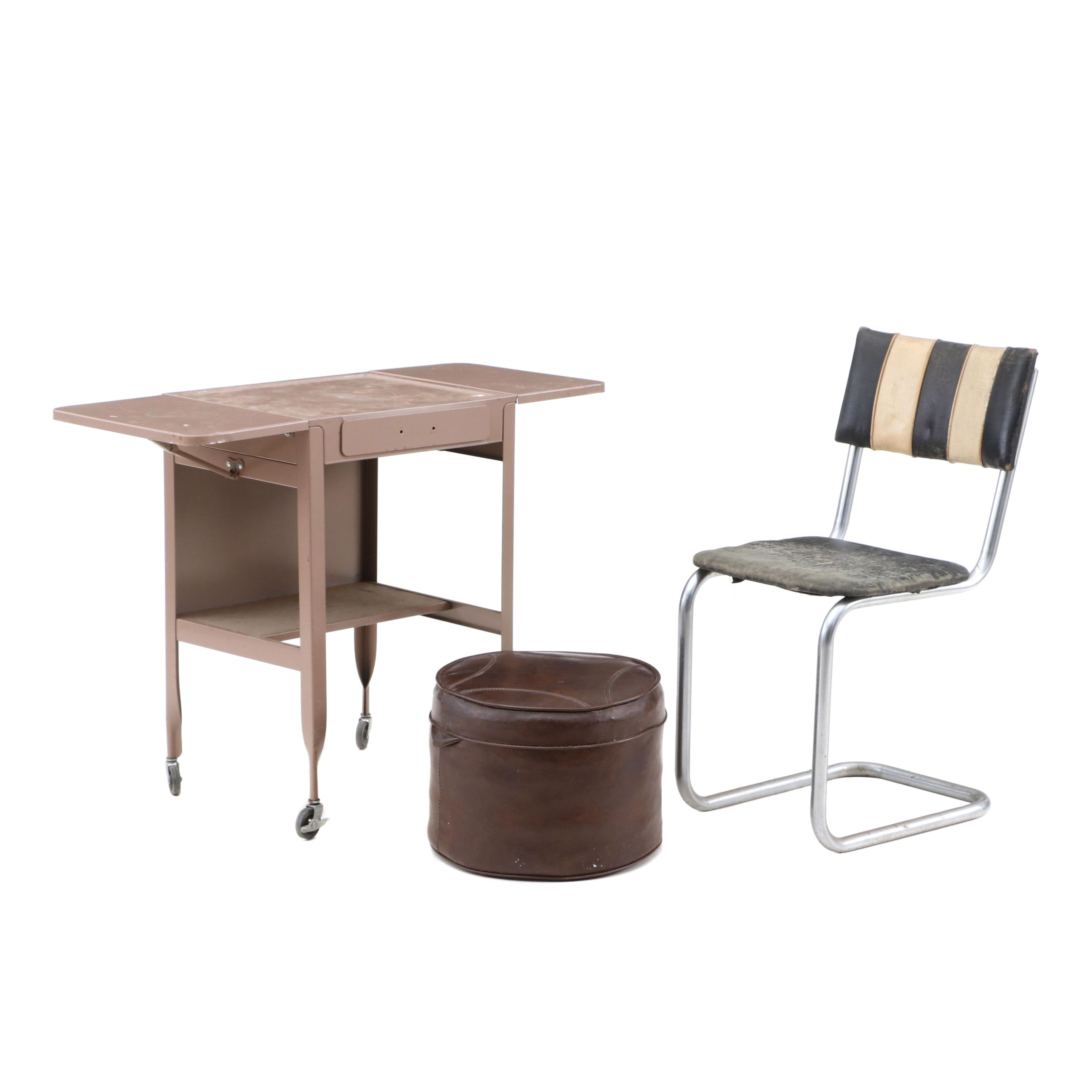 Metal Rolling Cart, Cantilever Chair and Ottoman, 20th Century