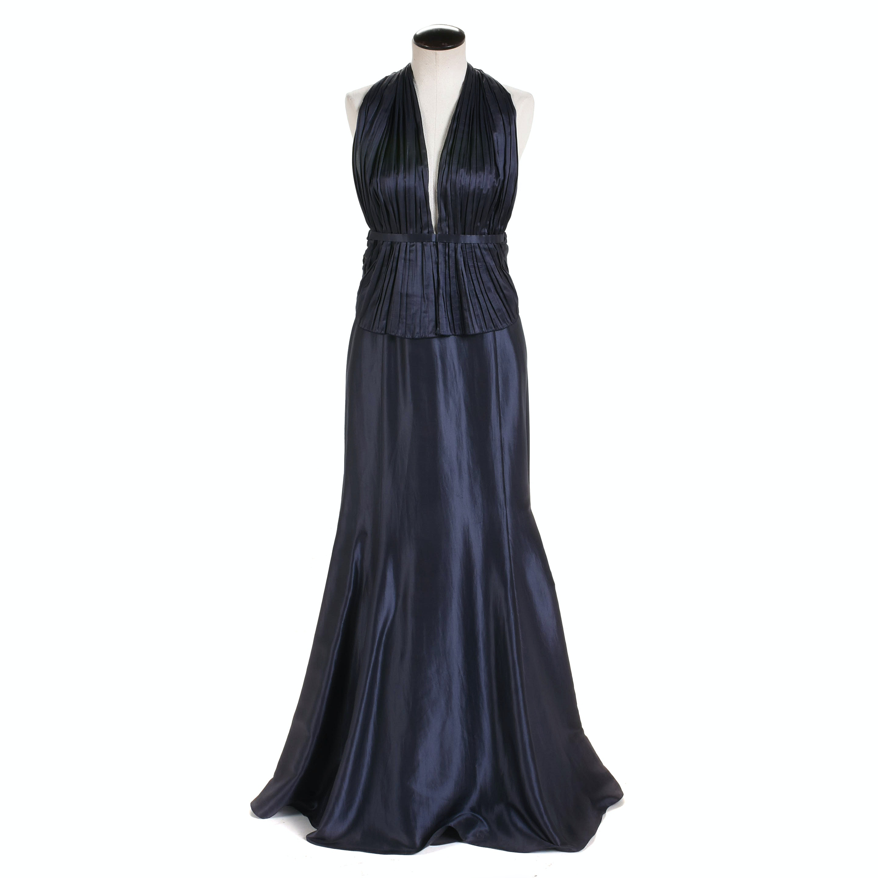 Giorgio Armani Sapphire Blue Satin Halter Gown, Made in Italy
