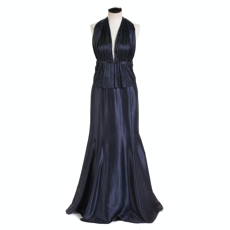 Giorgio Armani Sapphire Blue Satin Halter Gown, Made in Italy