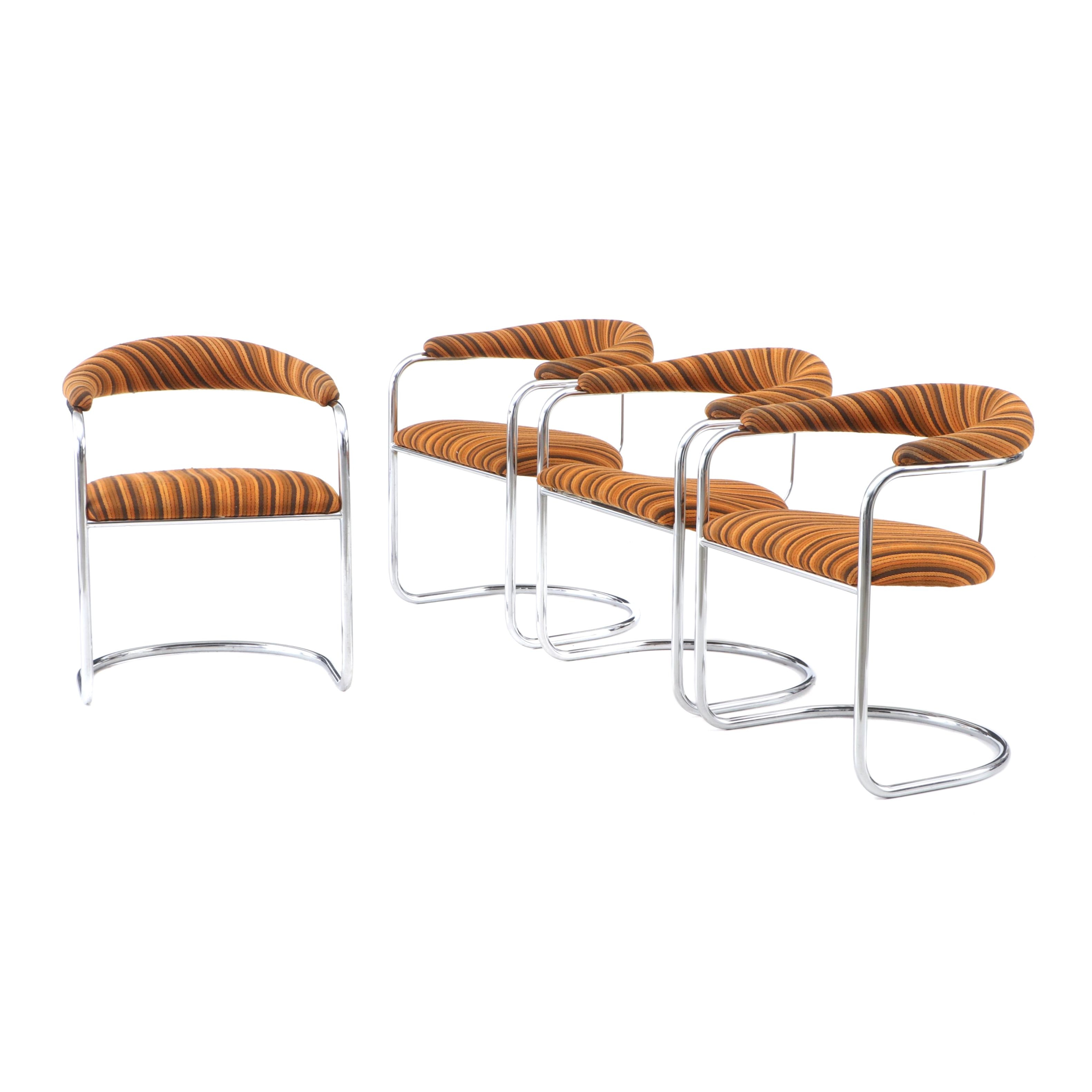 Mid Century Modern Thonet Mfg. Chrome and Upholstery Armchairs, Circa 1970