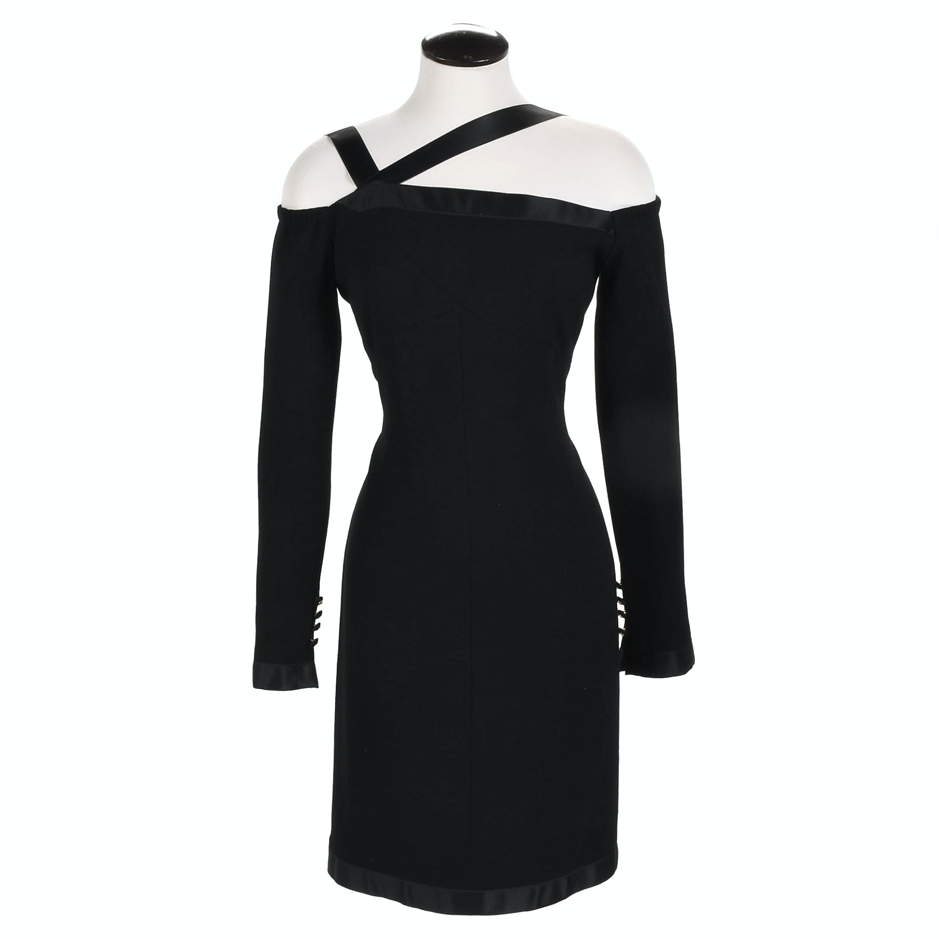 Chanel Boutique Off-the-Shoulder Black Dress, Made in France