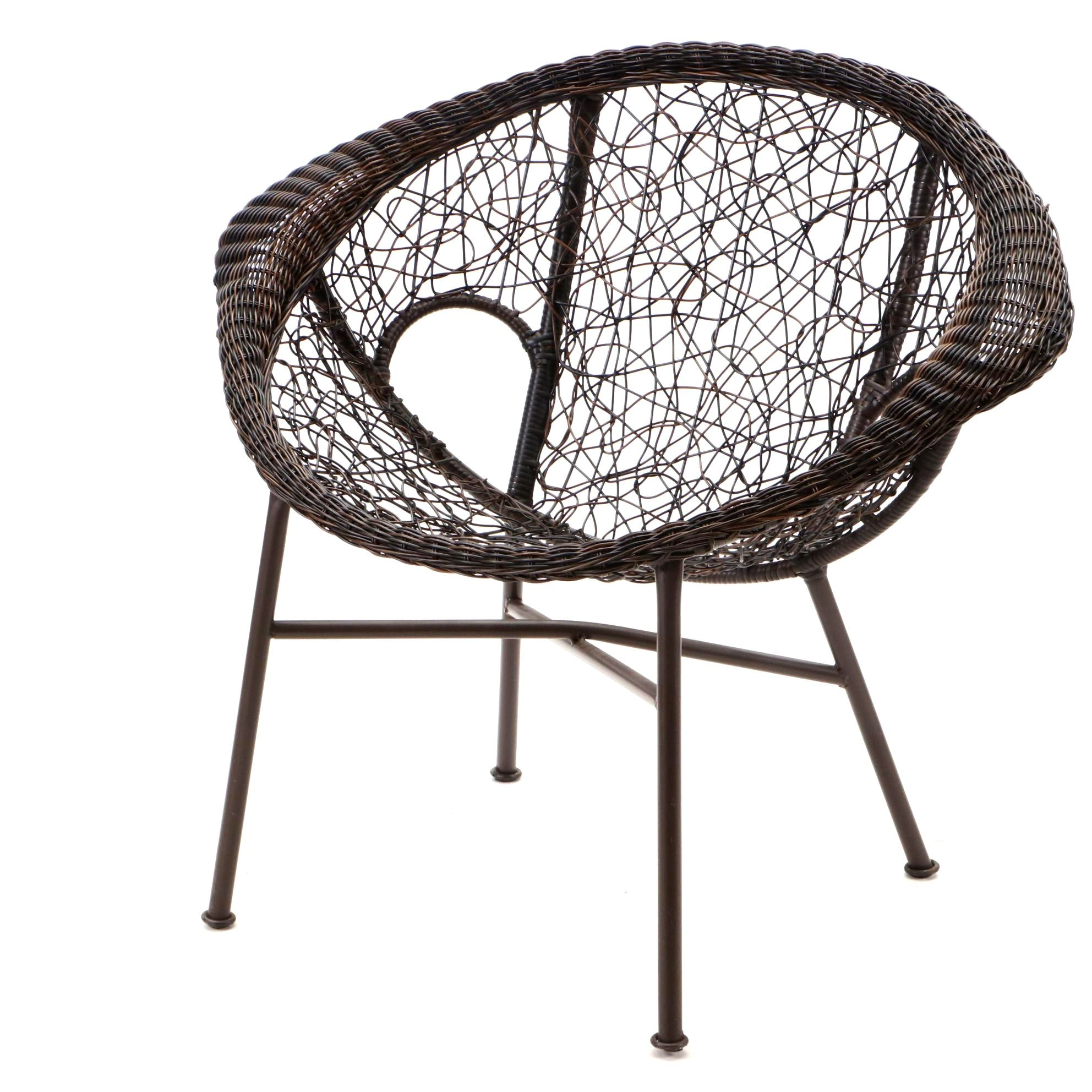 Contemporary Synthetic Wicker Bowl Chair