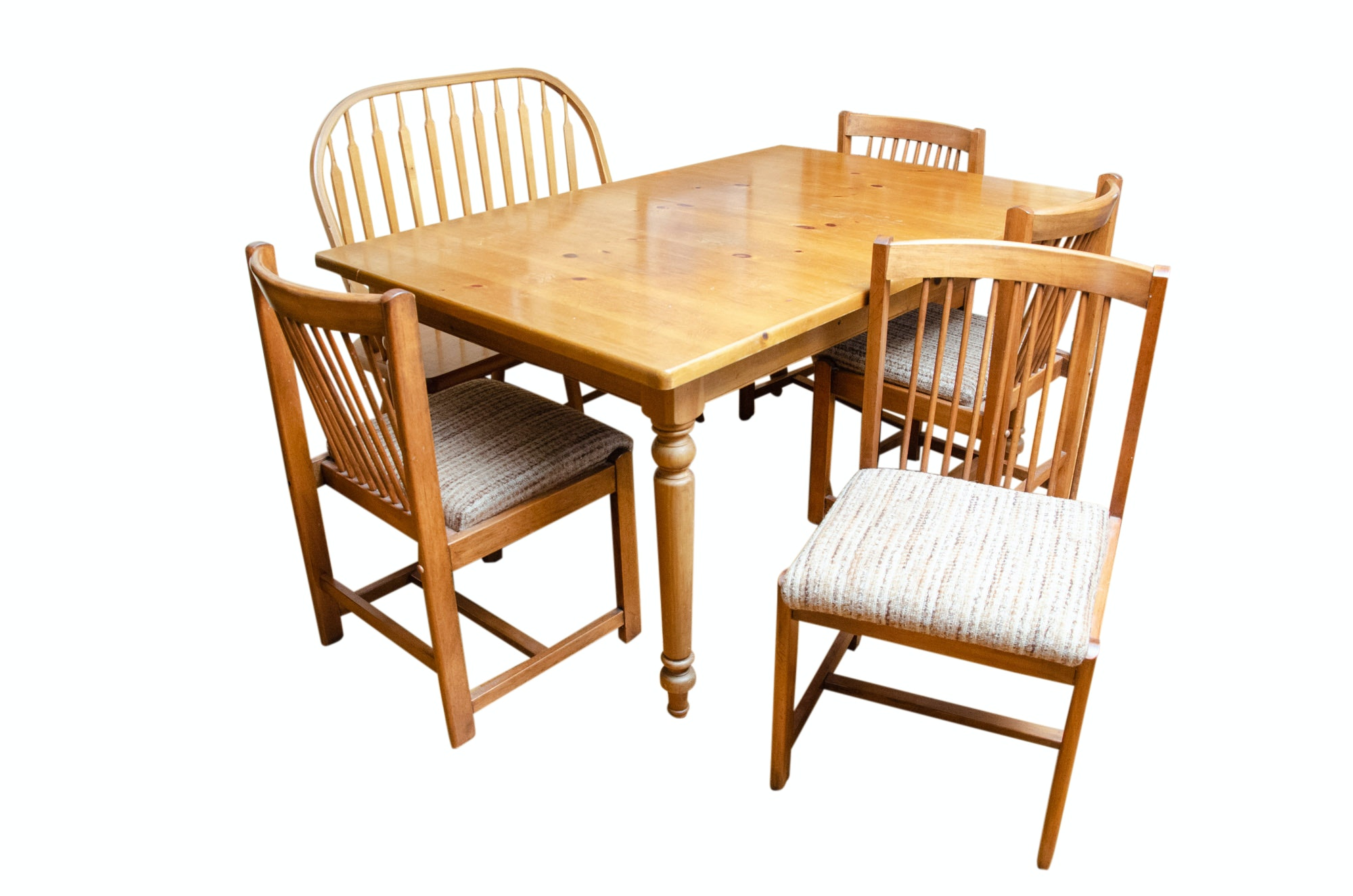French Country Style Dining Table, Windsor Bench and Chairs