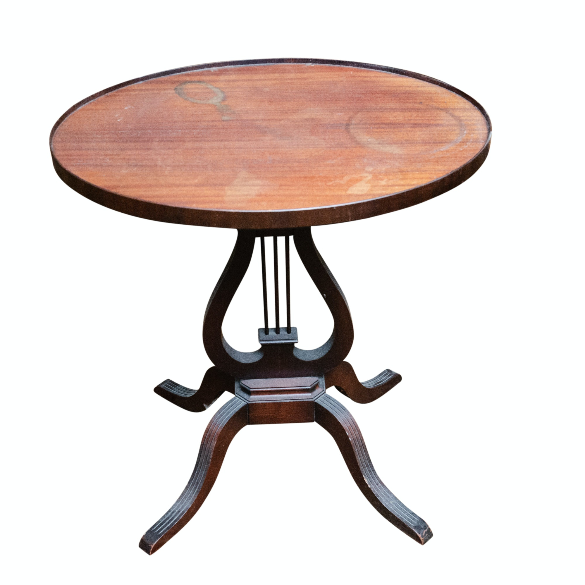 Vintage Mahogany Lyre Tea Table