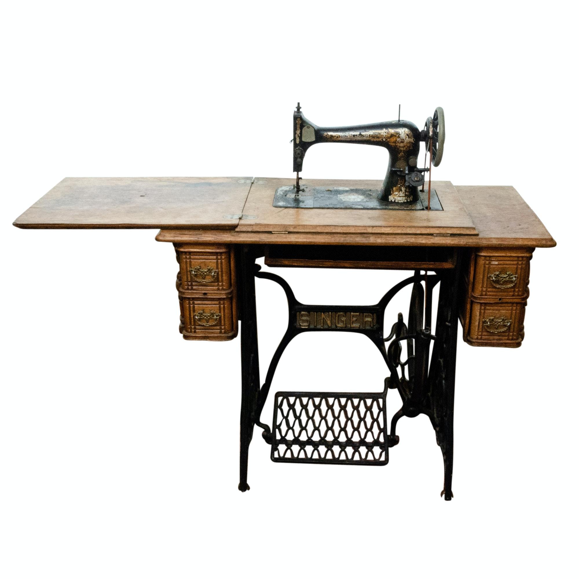 Antique Singer Sewing Machine in Oak Storage Cabinet