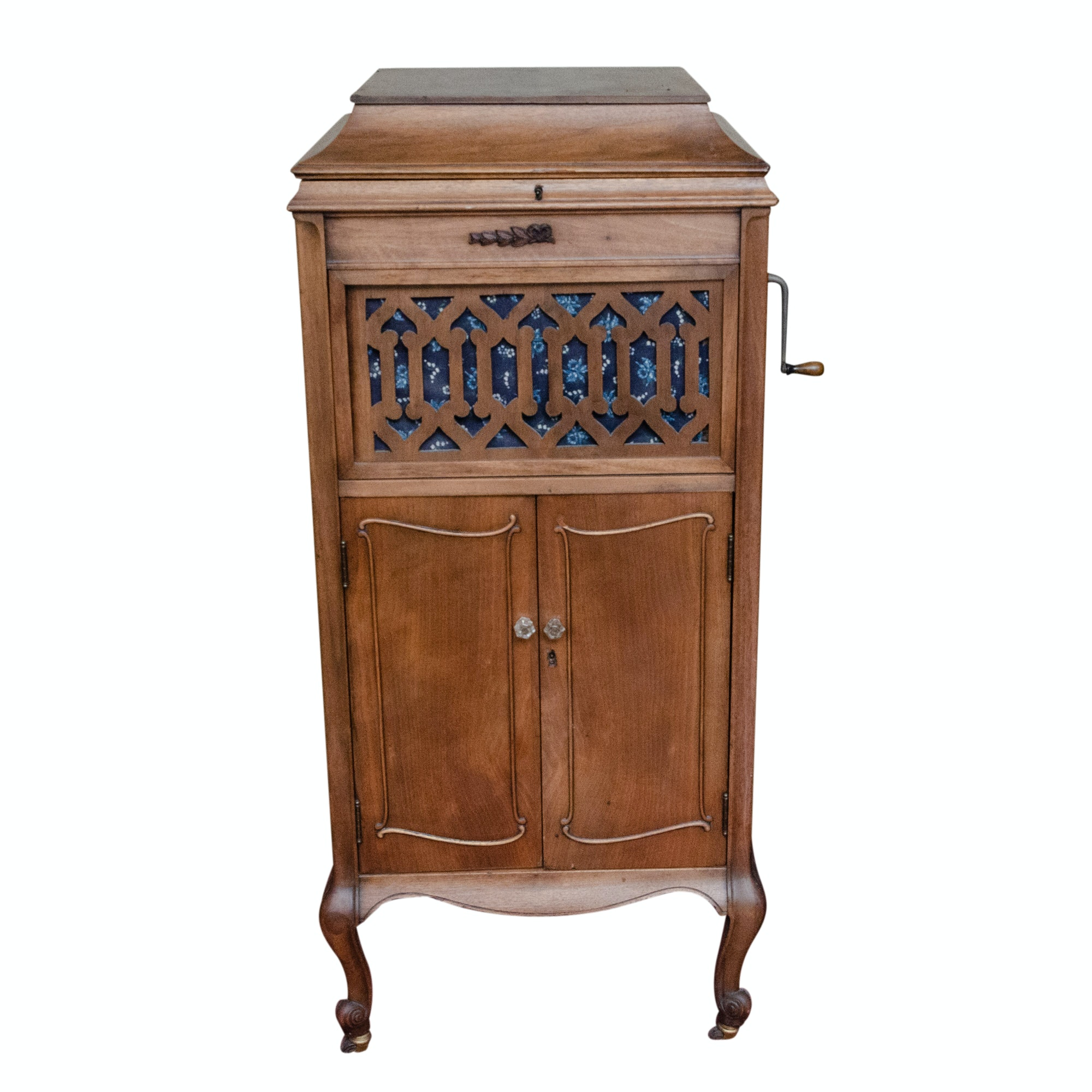 Antique Empire Phonograph in Cherry Wood Cabinet