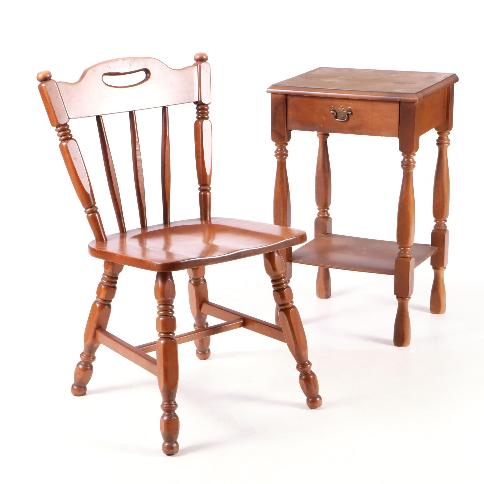 Maple Windsor Chair and Side Table, 20th Century