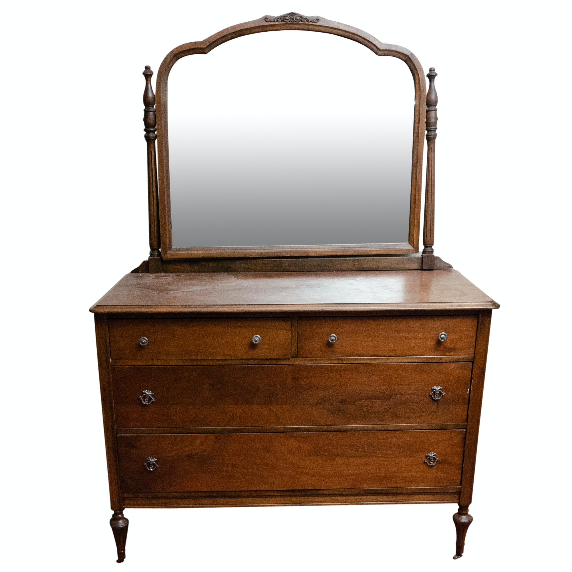Antique Victorian Style Chest of Drawers with Mirror