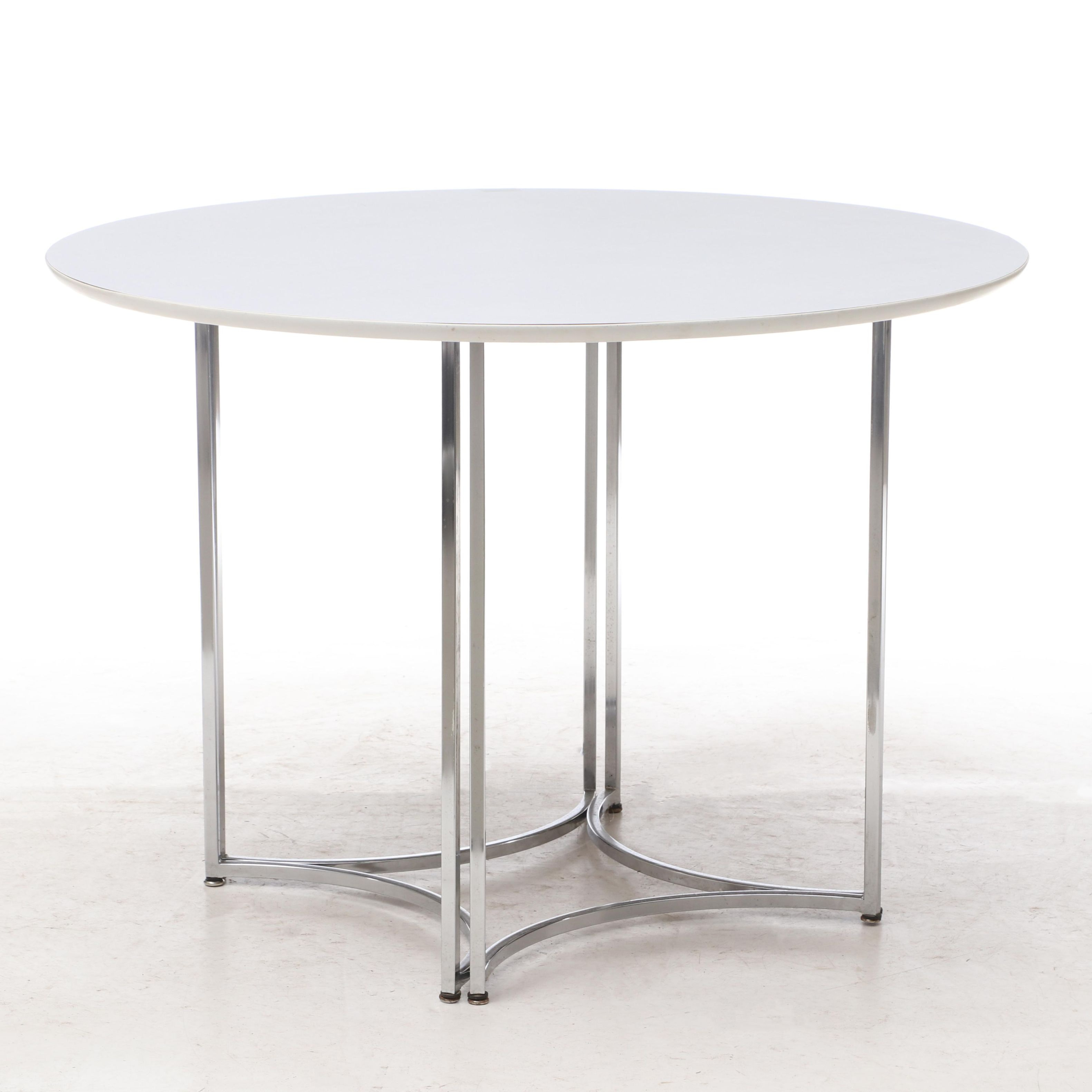 Contemporary Laminate and Metal Base Dining Table