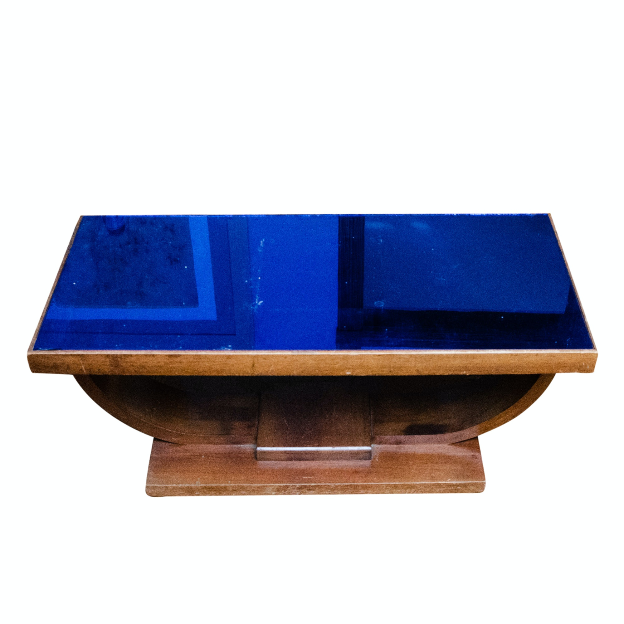 Art Deco Style Glass and Wood Coffee Table by Williamsport