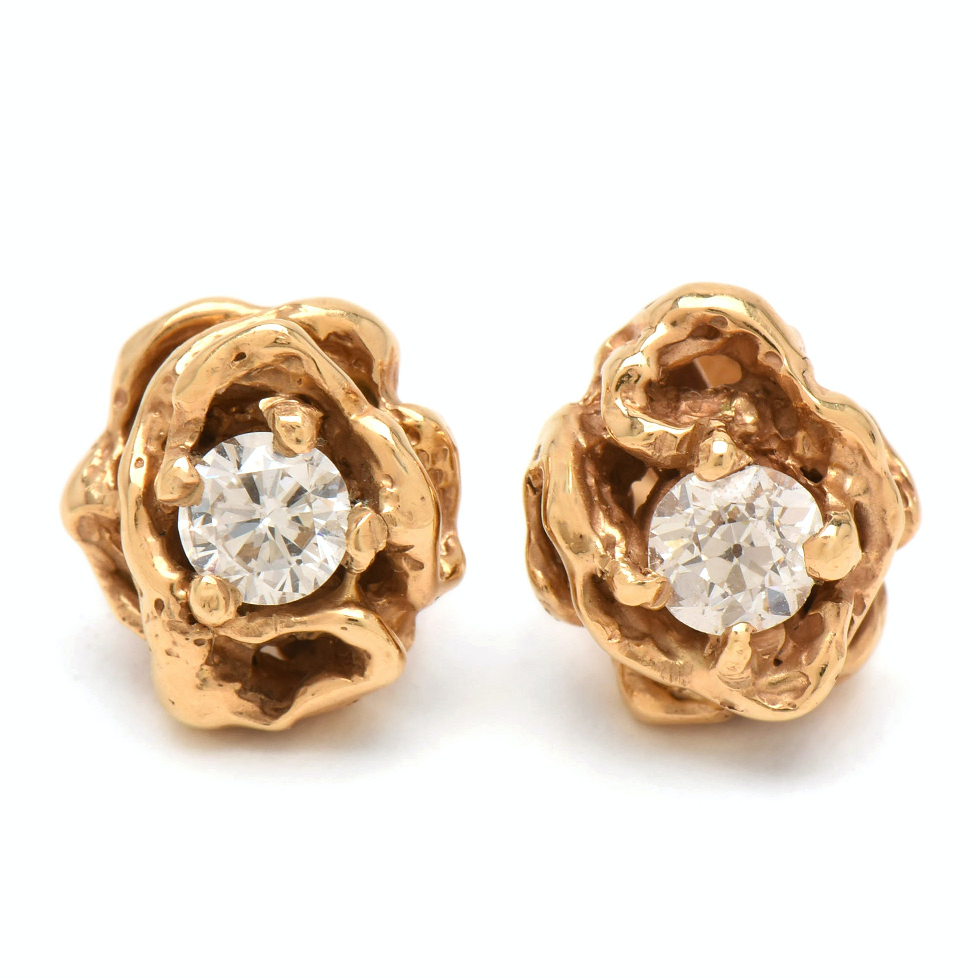 Arthur King 18K Yellow Gold Diamond Stud Earrings and 14K Yellow Gold Backs