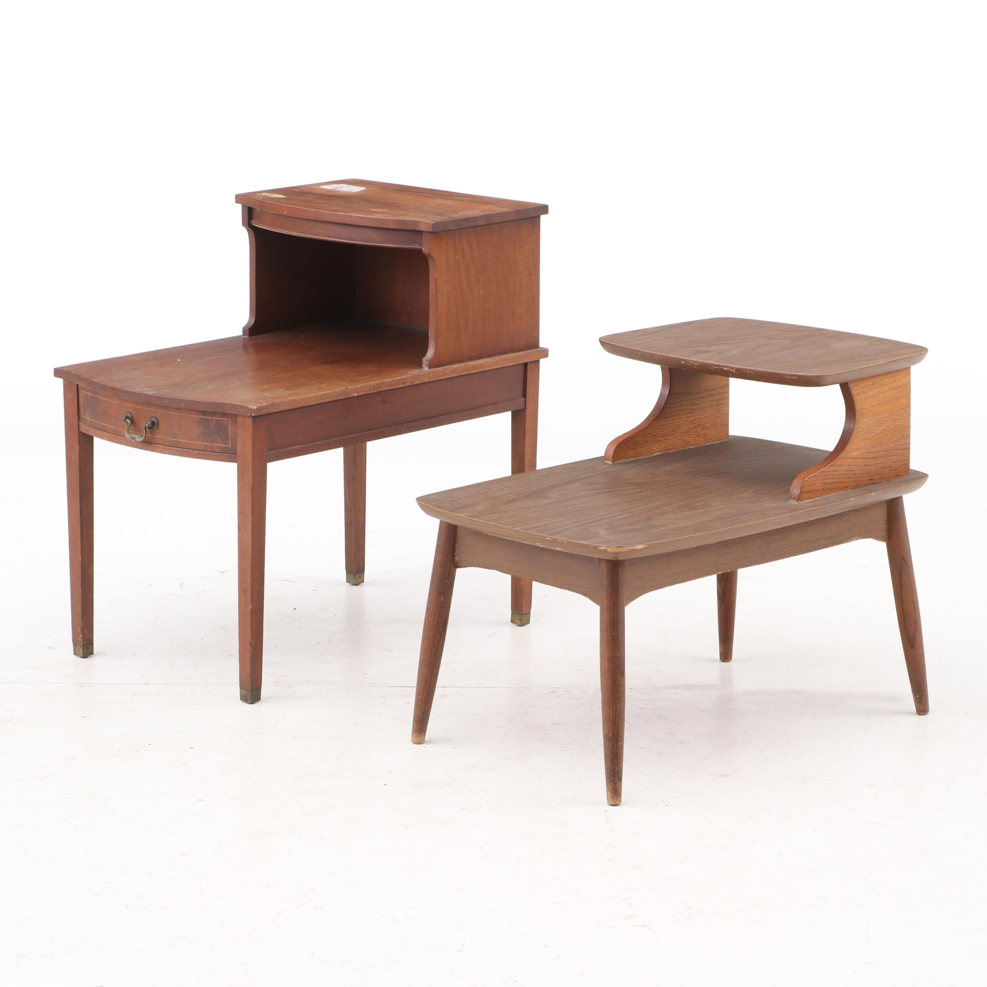 Mahogany End Table by Columbia  and Walnut Laminate Table, Mid-20th Century