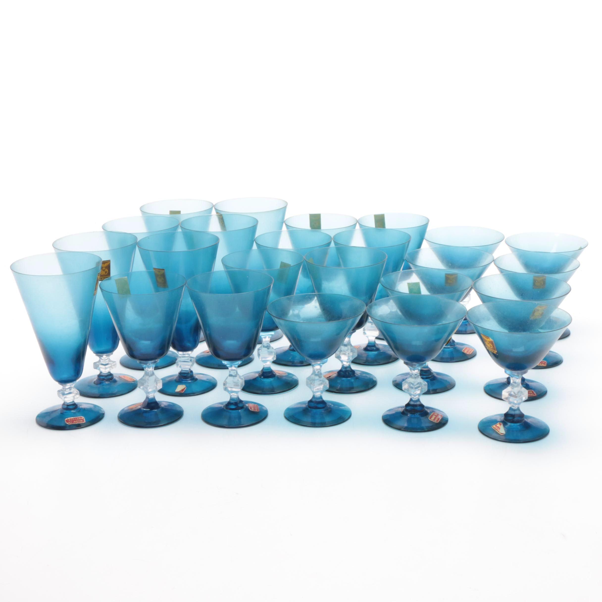 Mid-Century Blefeld Blue Crystal Stemware