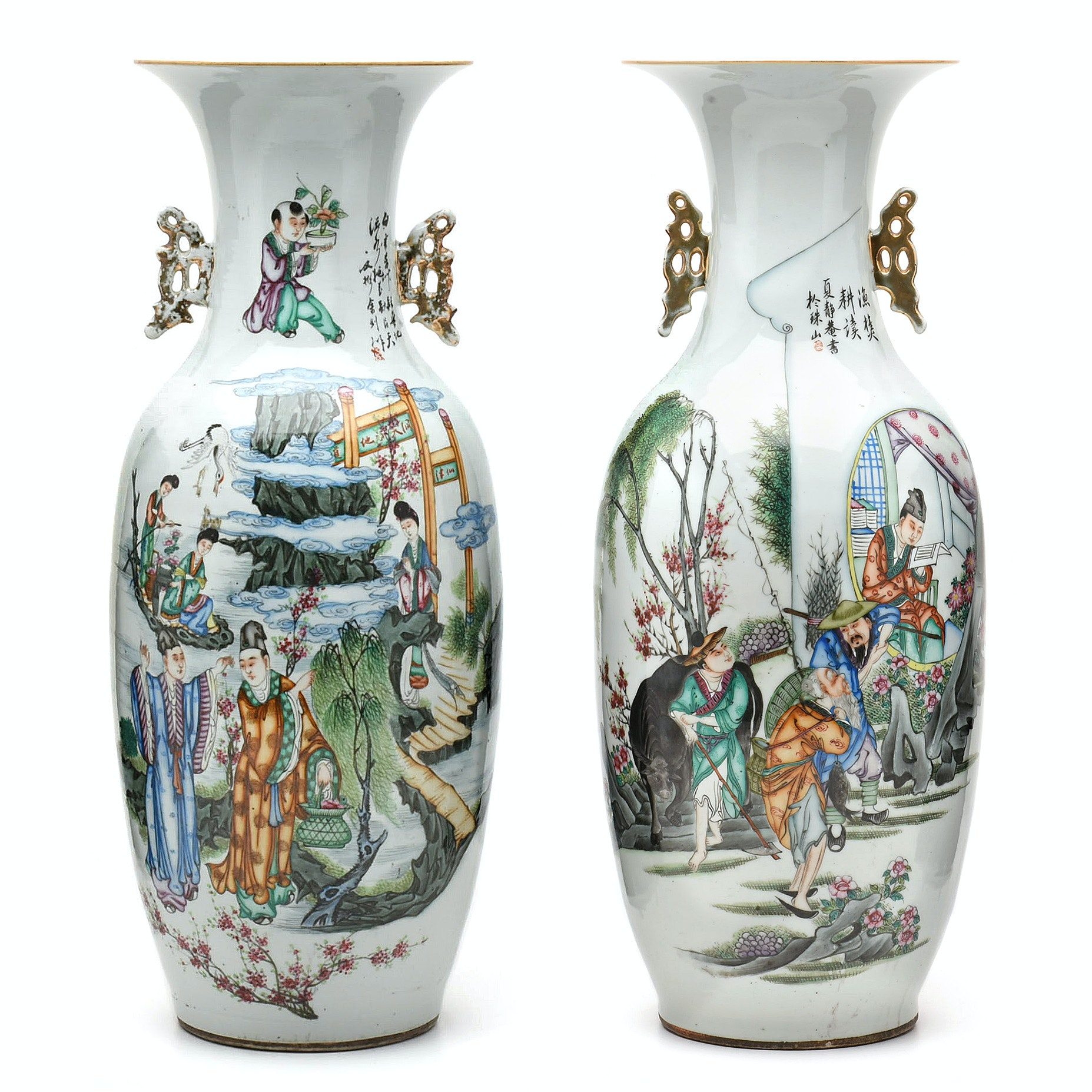 Bin Yu Zhao Chinese Famille Verte Porcelain Temple Urns