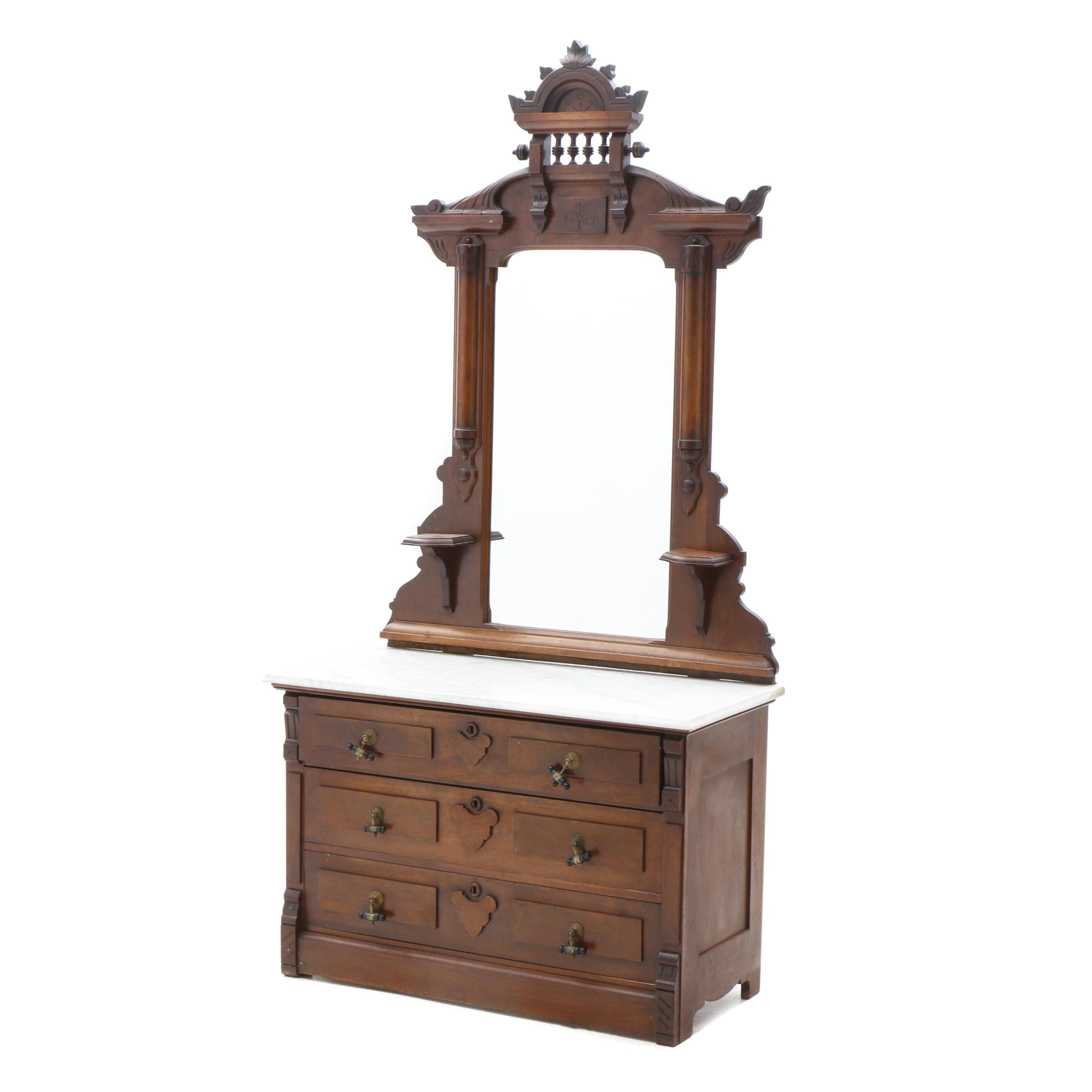 Victorian Walnut and Marble Top Chest of Drawers, Circa 1880