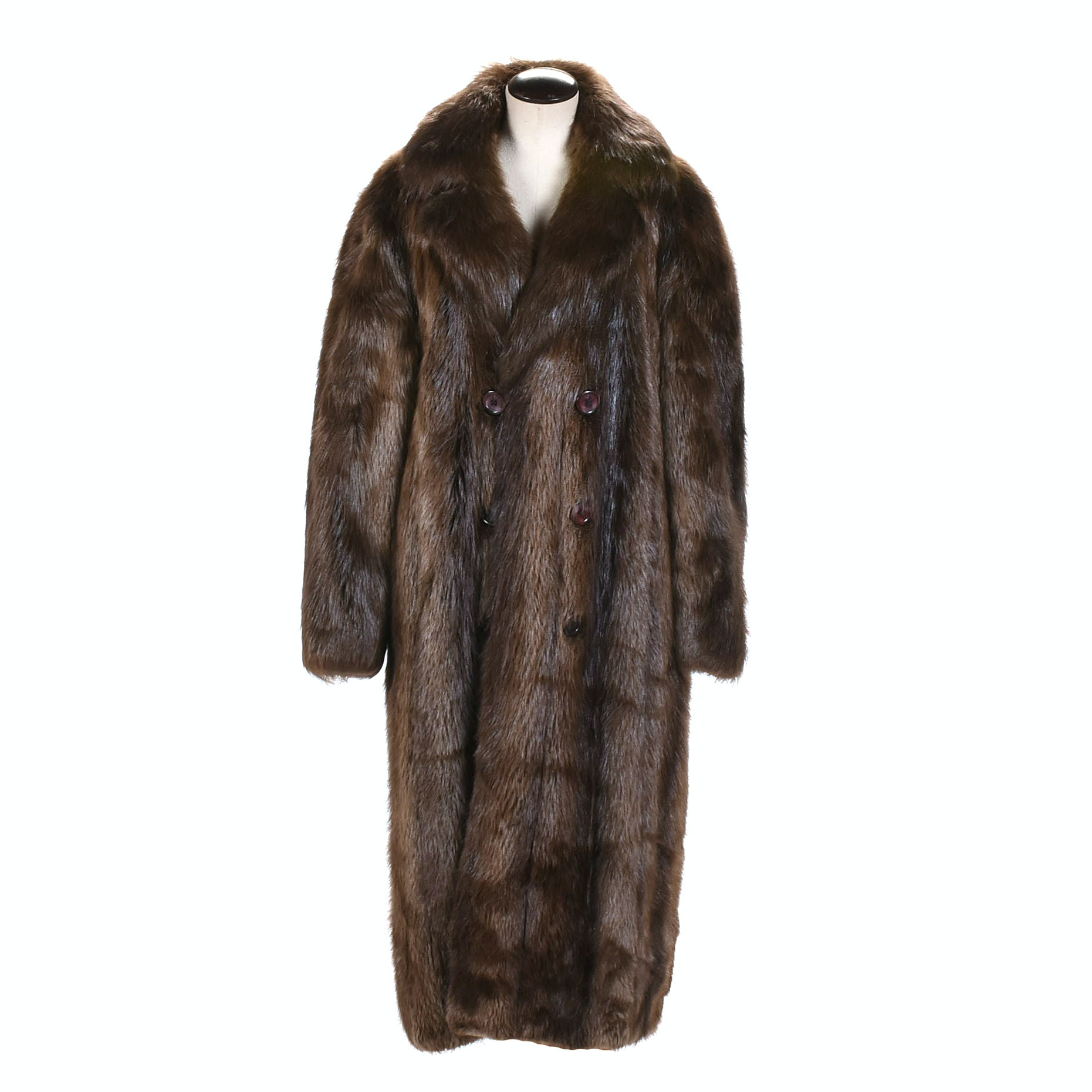Double Breasted Beaver Fur Coat by Renown Furriers Carol and Irwin Ware