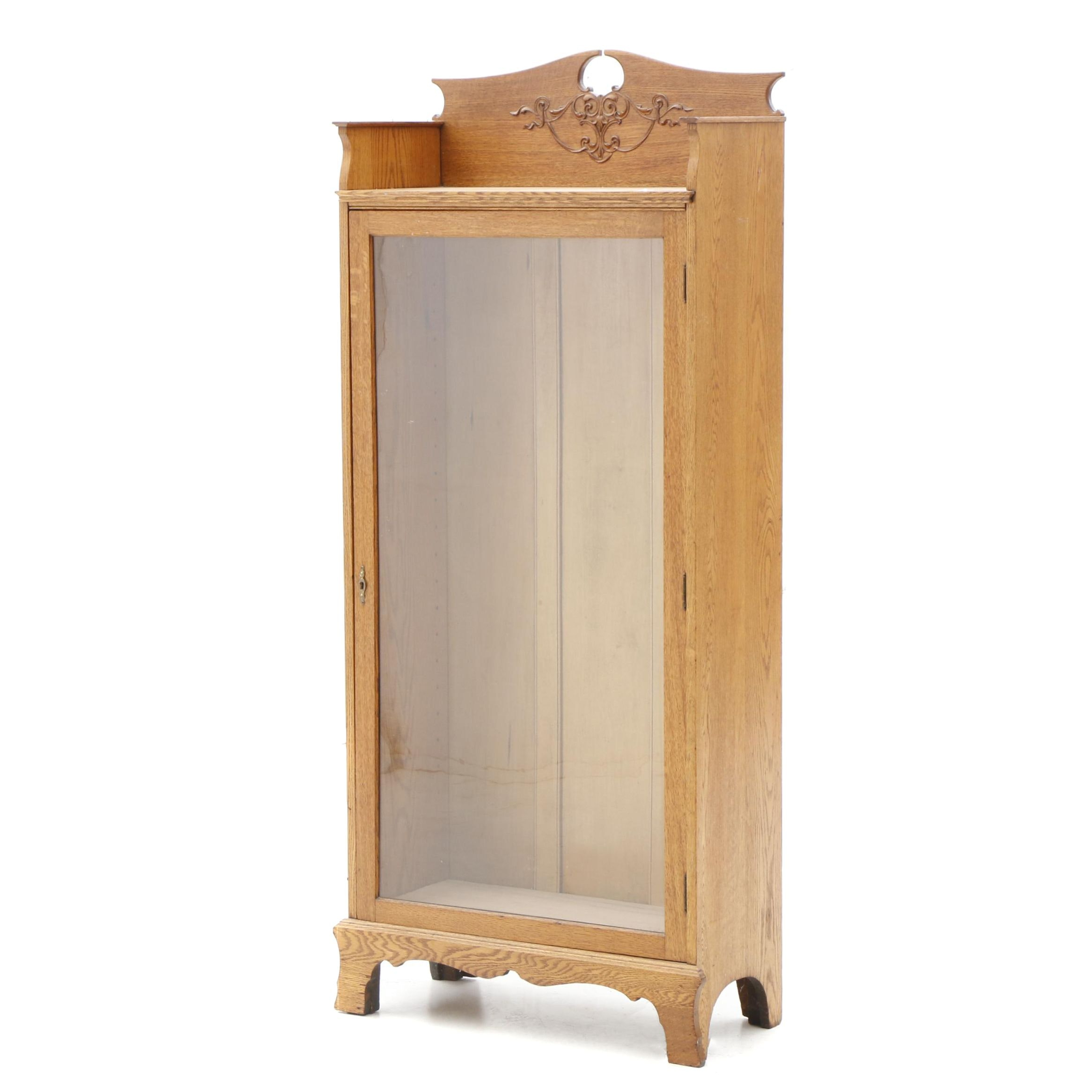 Oak Glass Front Display Cabinet, Late 19th Century