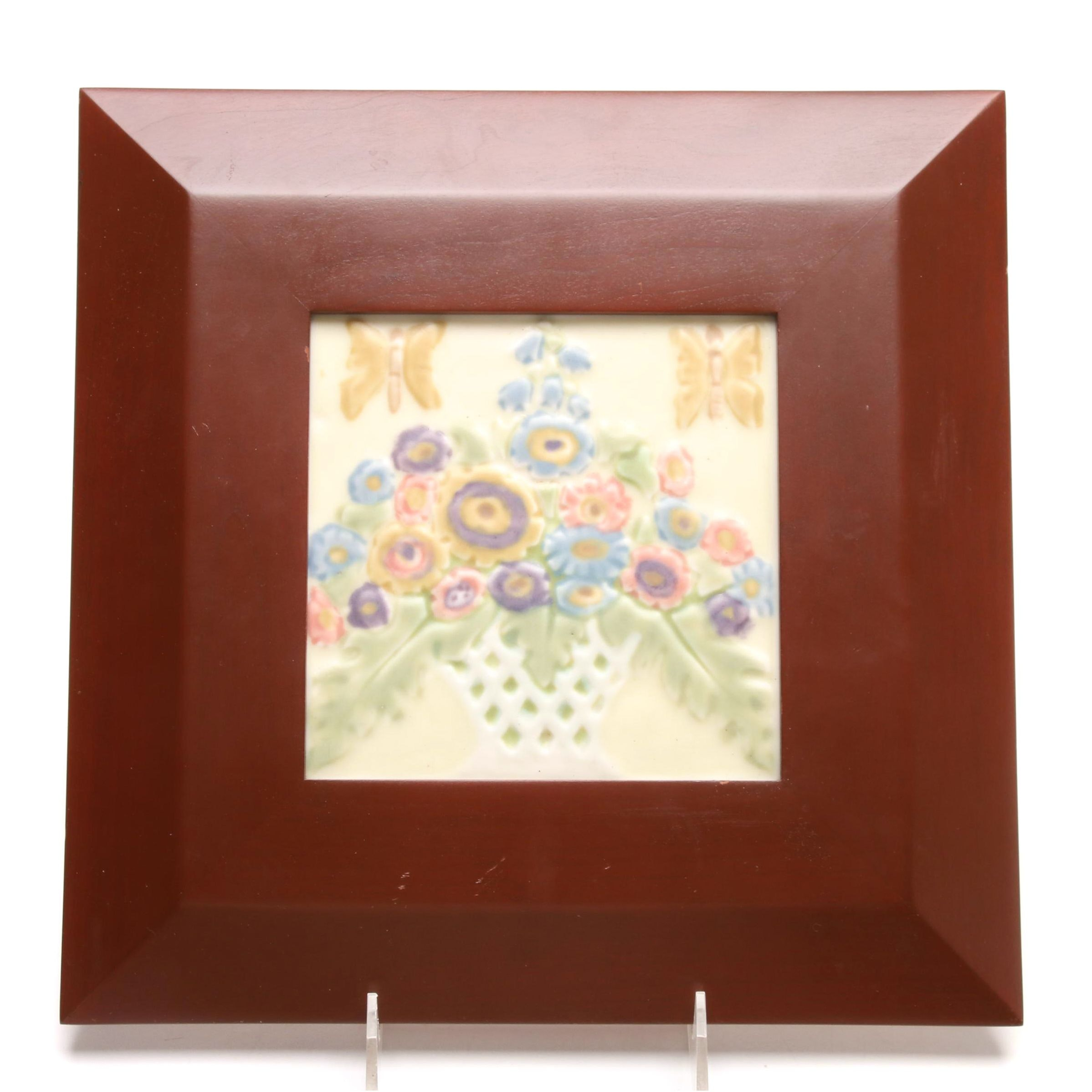 1927 Rookwood Pottery Tile in Cherry Frame