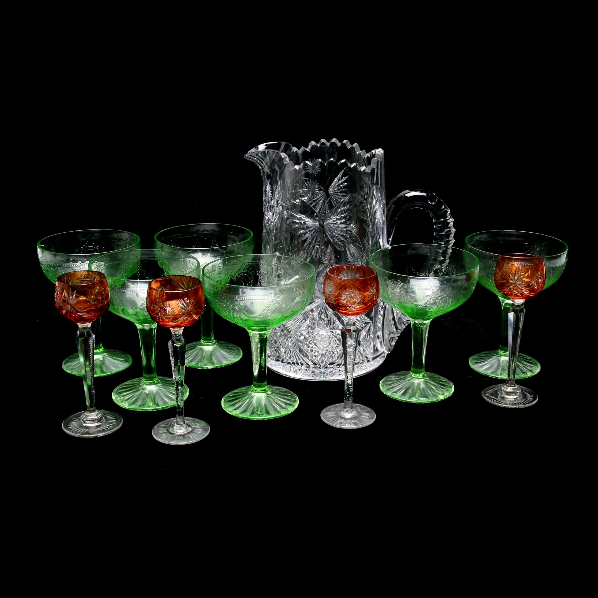 Brilliant Cut Glass Pitcher, Green Depression and Amber Cut to Clear Stemware