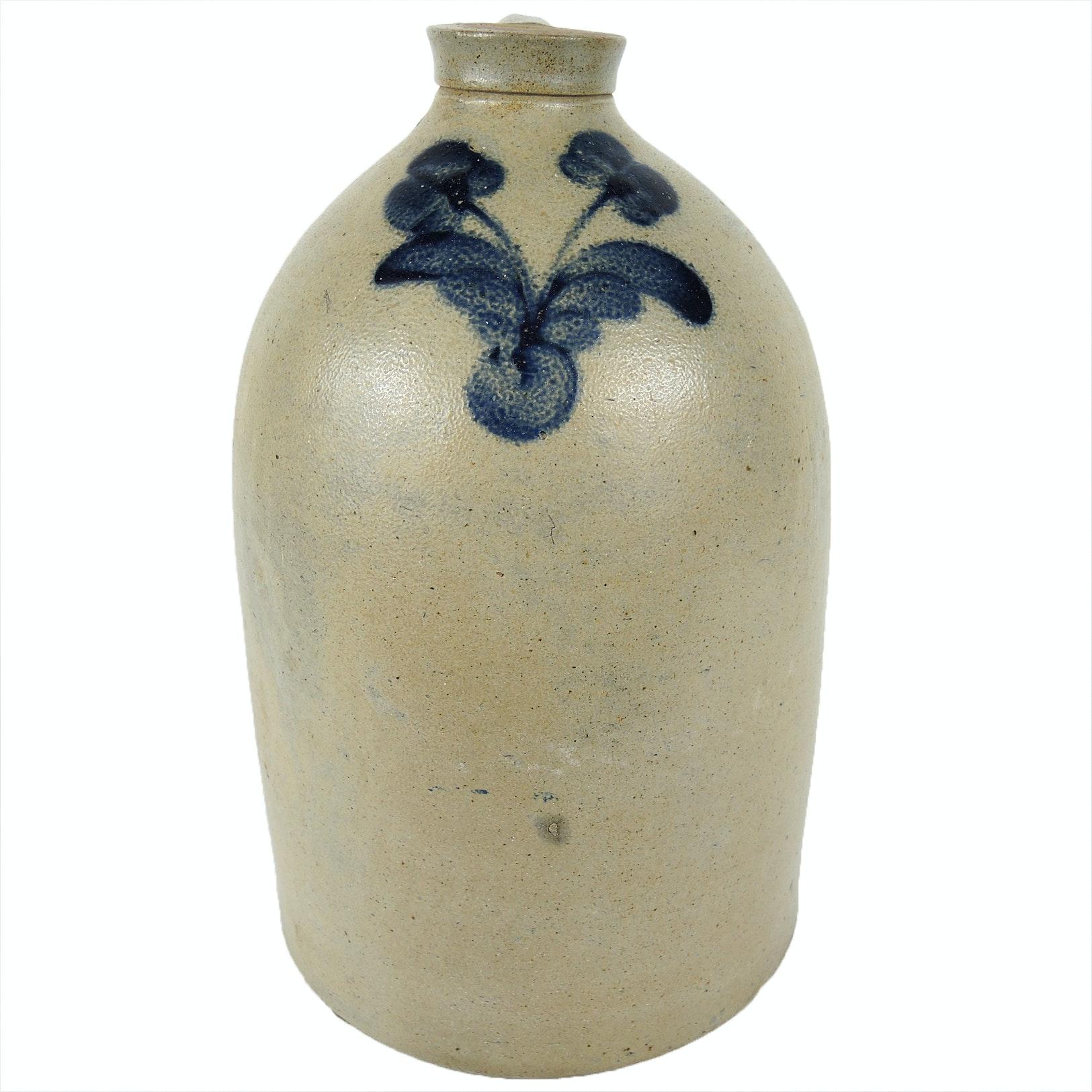 Salt Glazed Stoneware Jug with Cobalt Decoration