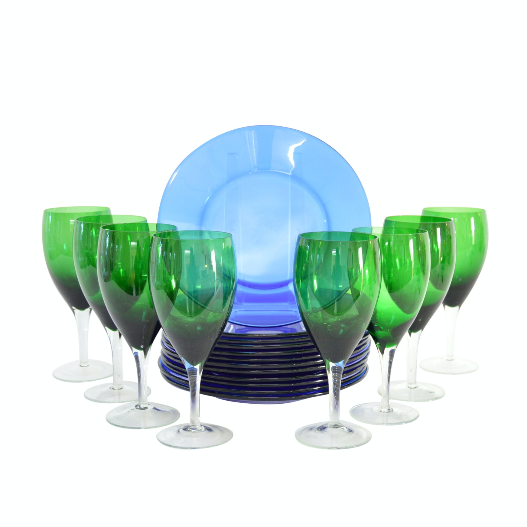 Vintage Cobalt Blue Glass Plates and Green Wine Glasses