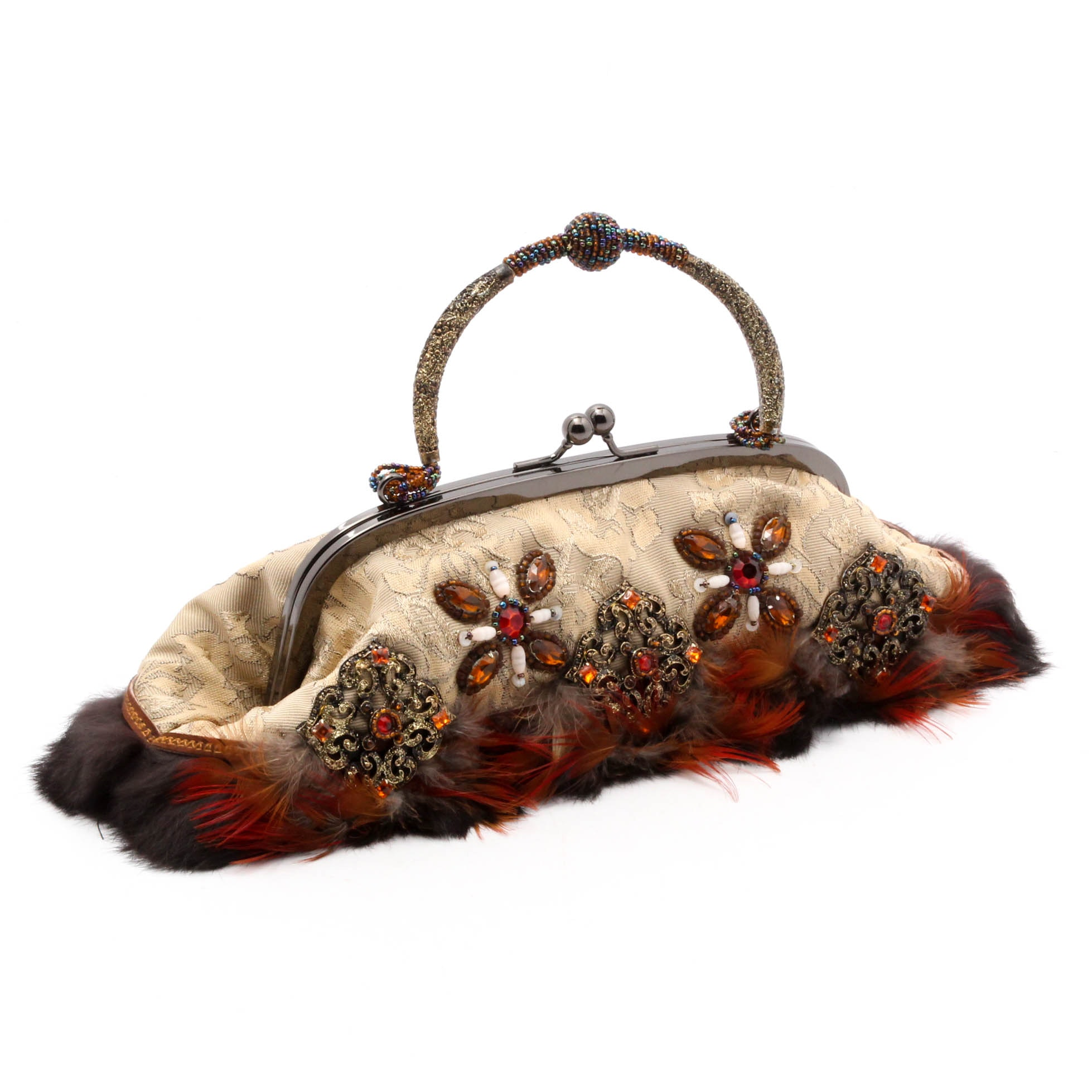 Mary Frances of San Francisco Frame Handbag with Bead and Feather Adornments