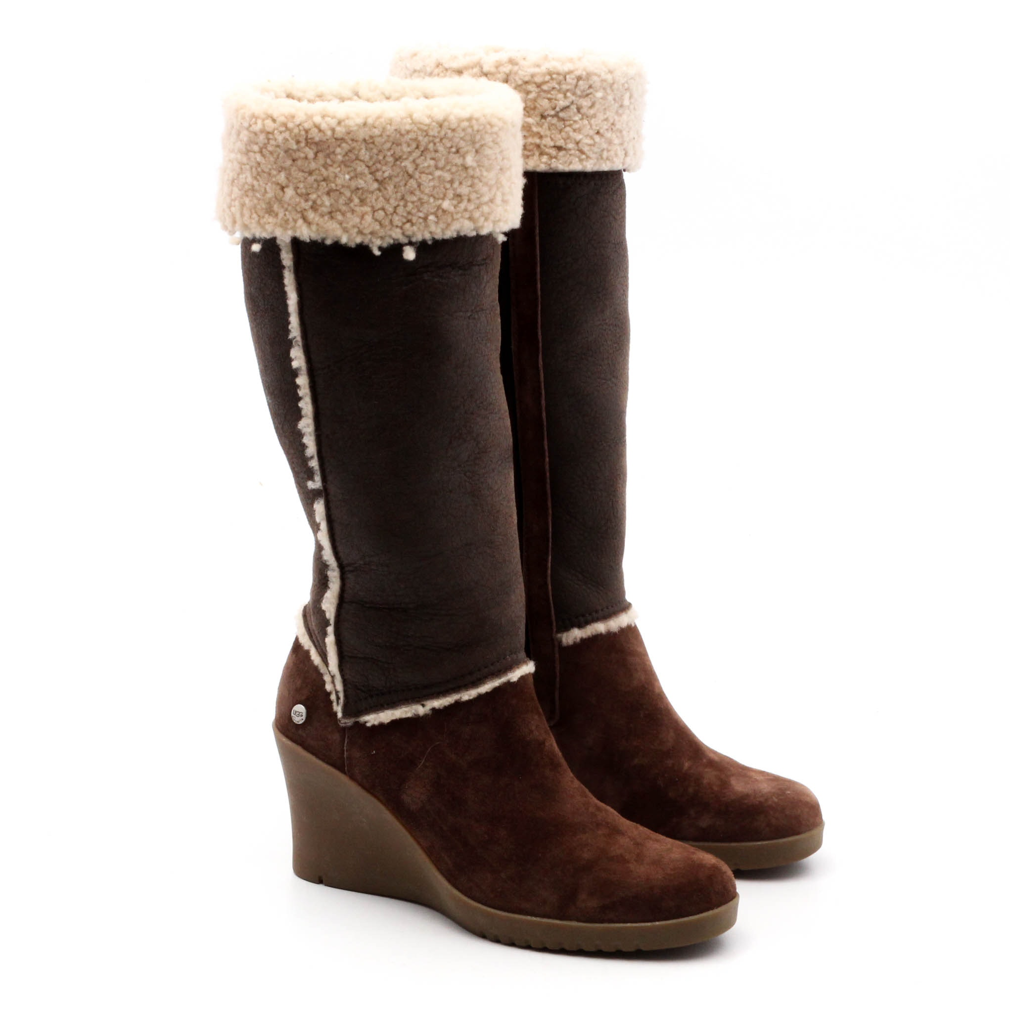 Women's UGG Australia Sandra Wedge Brown Suede and Shearling Heeled Boots