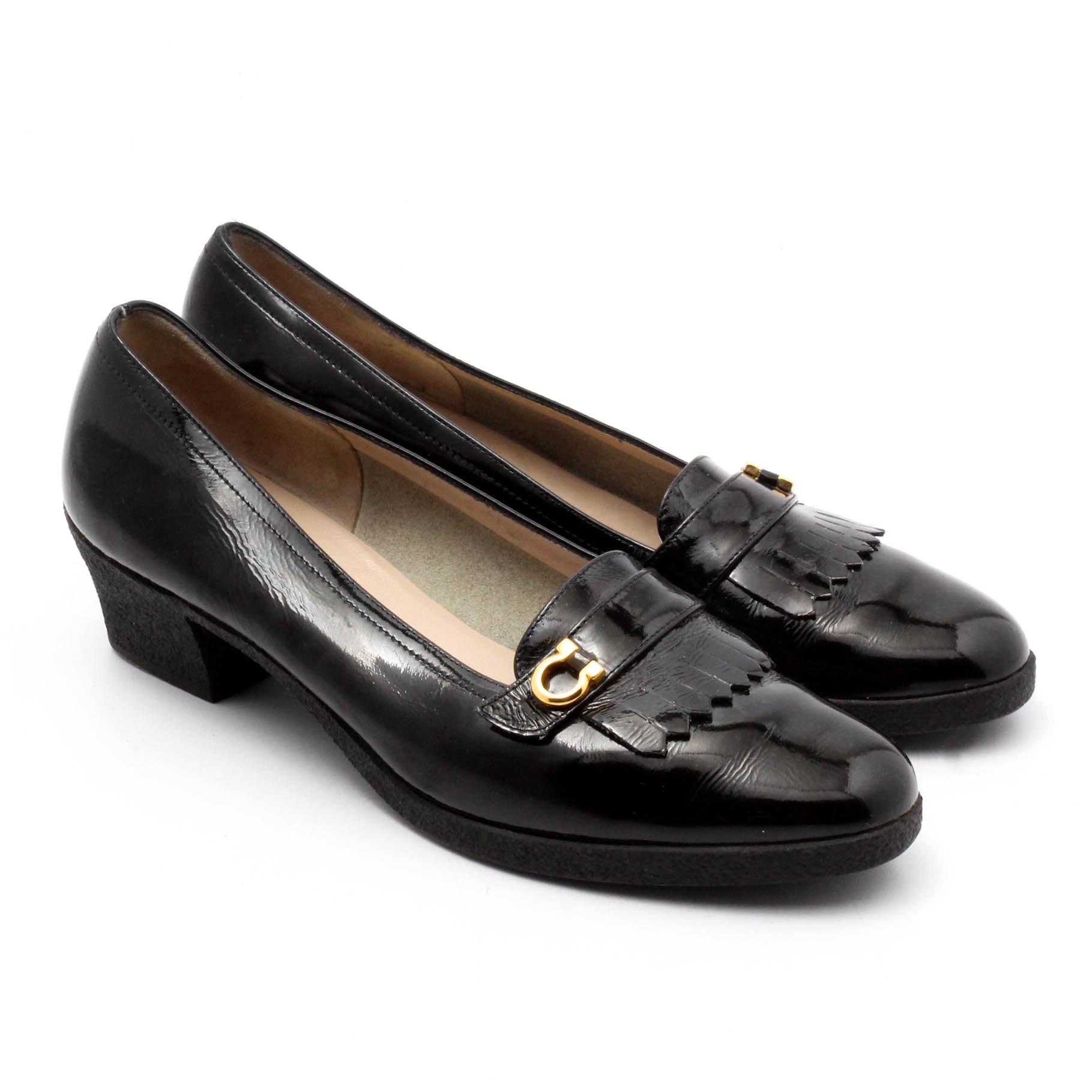 Women's Salvatore Ferragamo Black Patent Leather Loafers