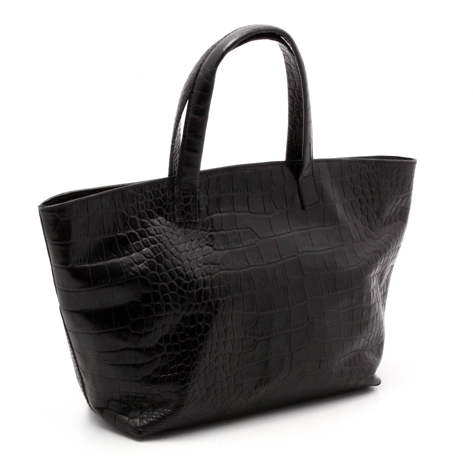 Maurizio Taiuti Crocodile Embossed Black Leather Tote, Made in Italy