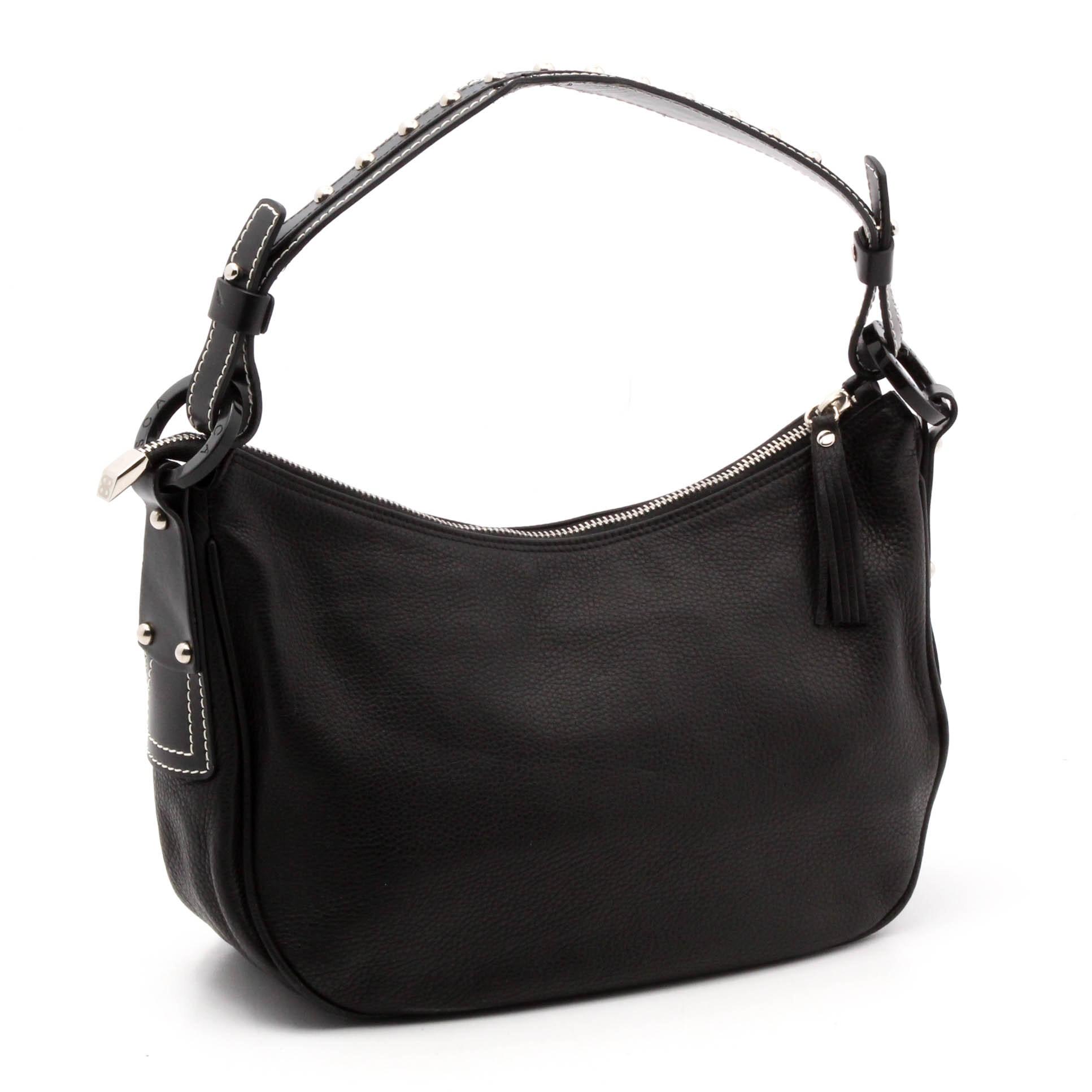 Bosca Black Pebbled Leather Handbag