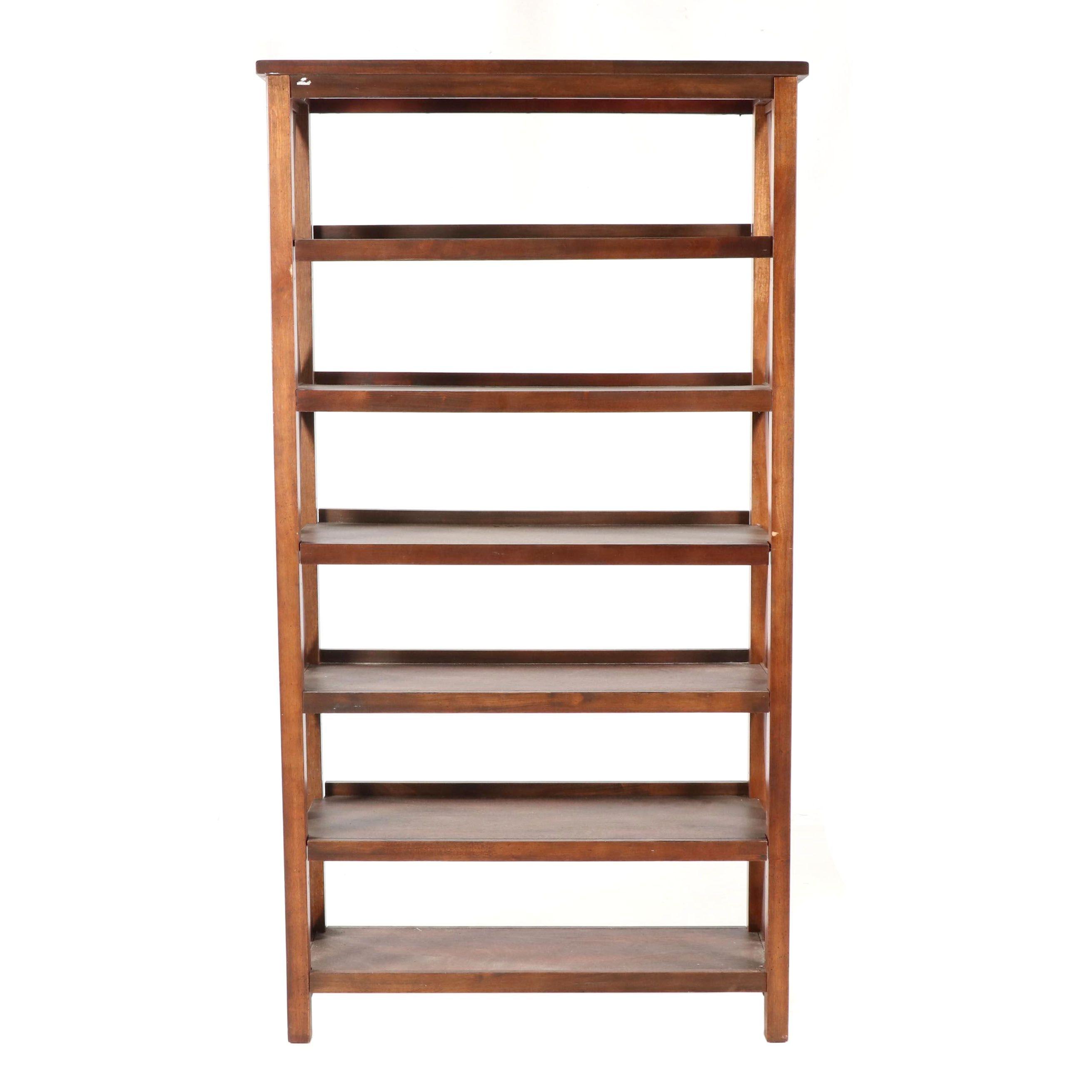 Contemporary Six Shelf Wood Bookcase