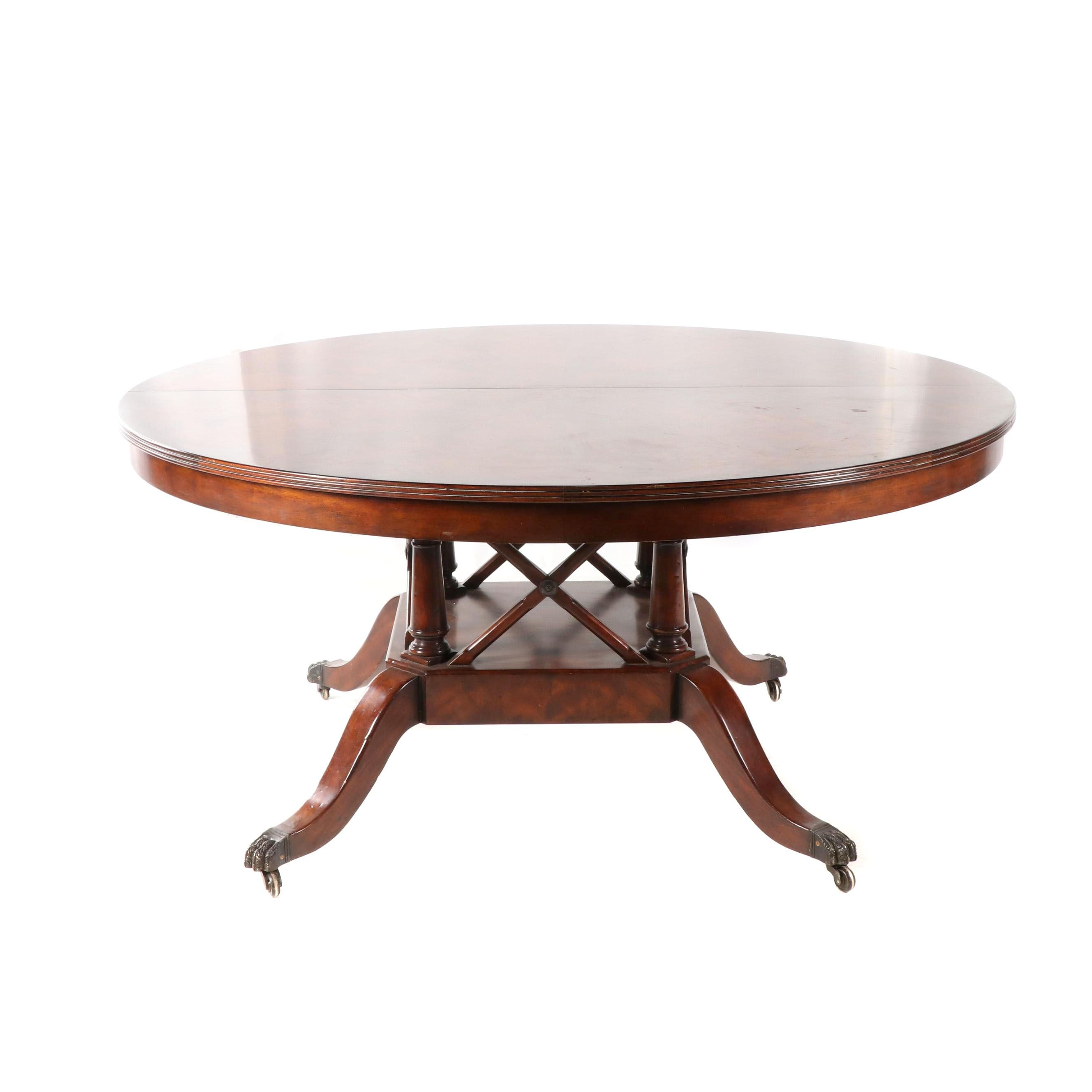Federal Style Burl Wood Dining Table on Casters, Late 20th Century