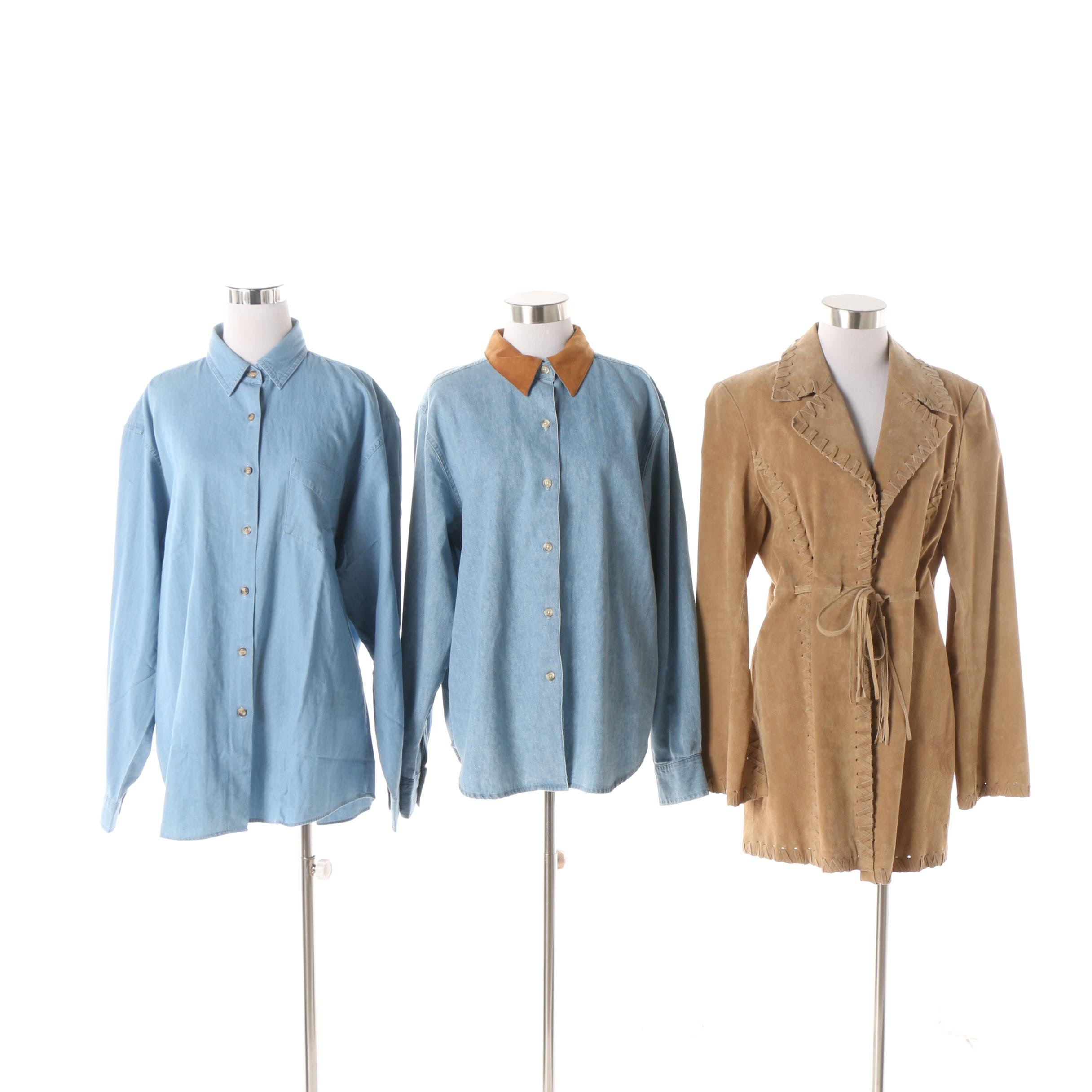 Women's Suede Jacket and Denim Button-Front Shirts including Brandon Thomas