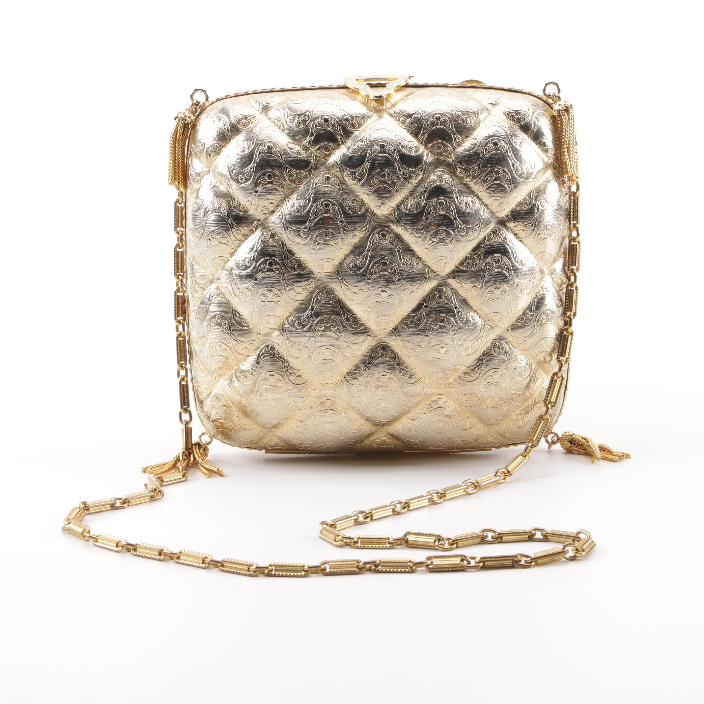 Italian Quilted Pattern Gold Tone Metal Floral Embossed Evening Bag with Tassels