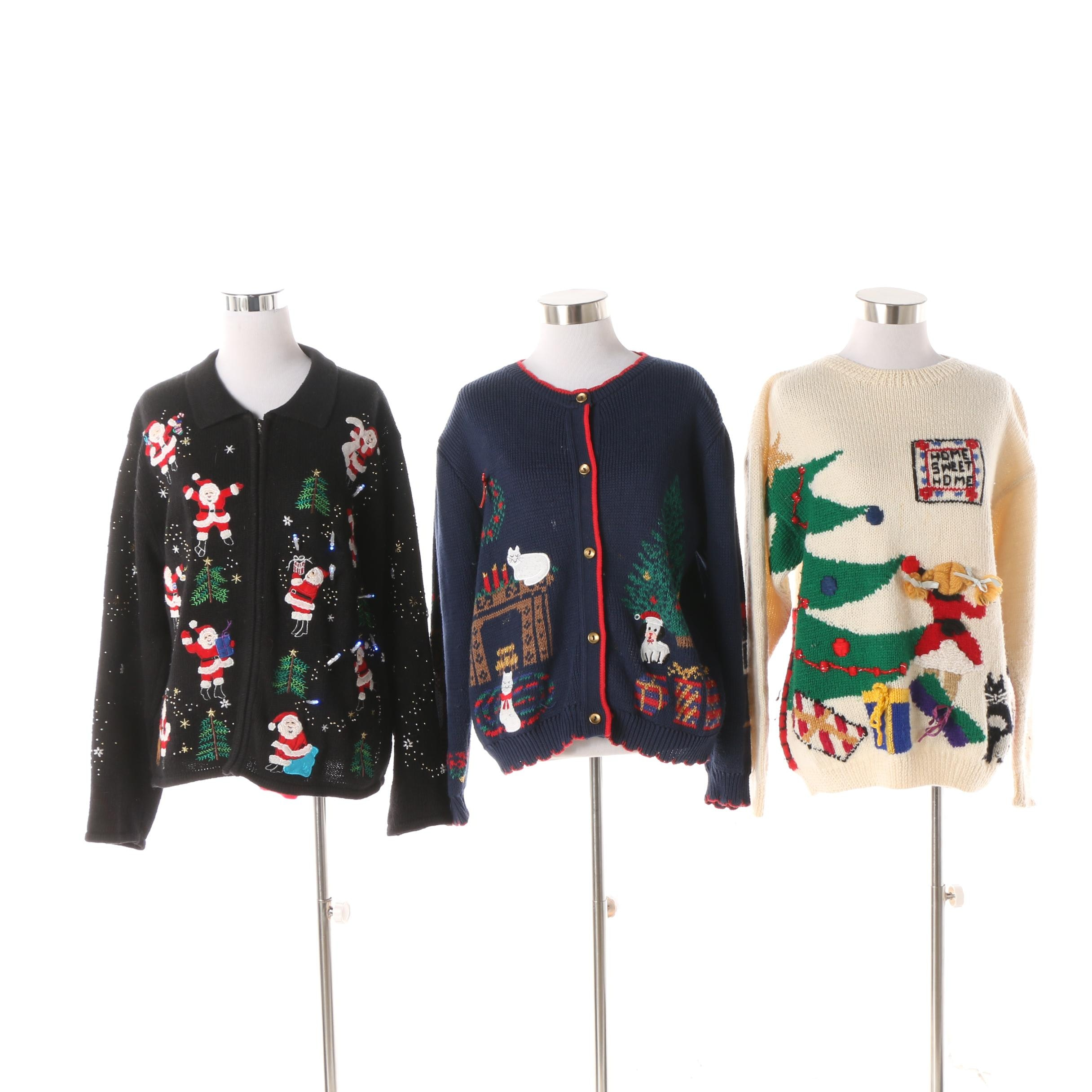 Women's Embellished Knit and Light-Up Christmas Cardigans
