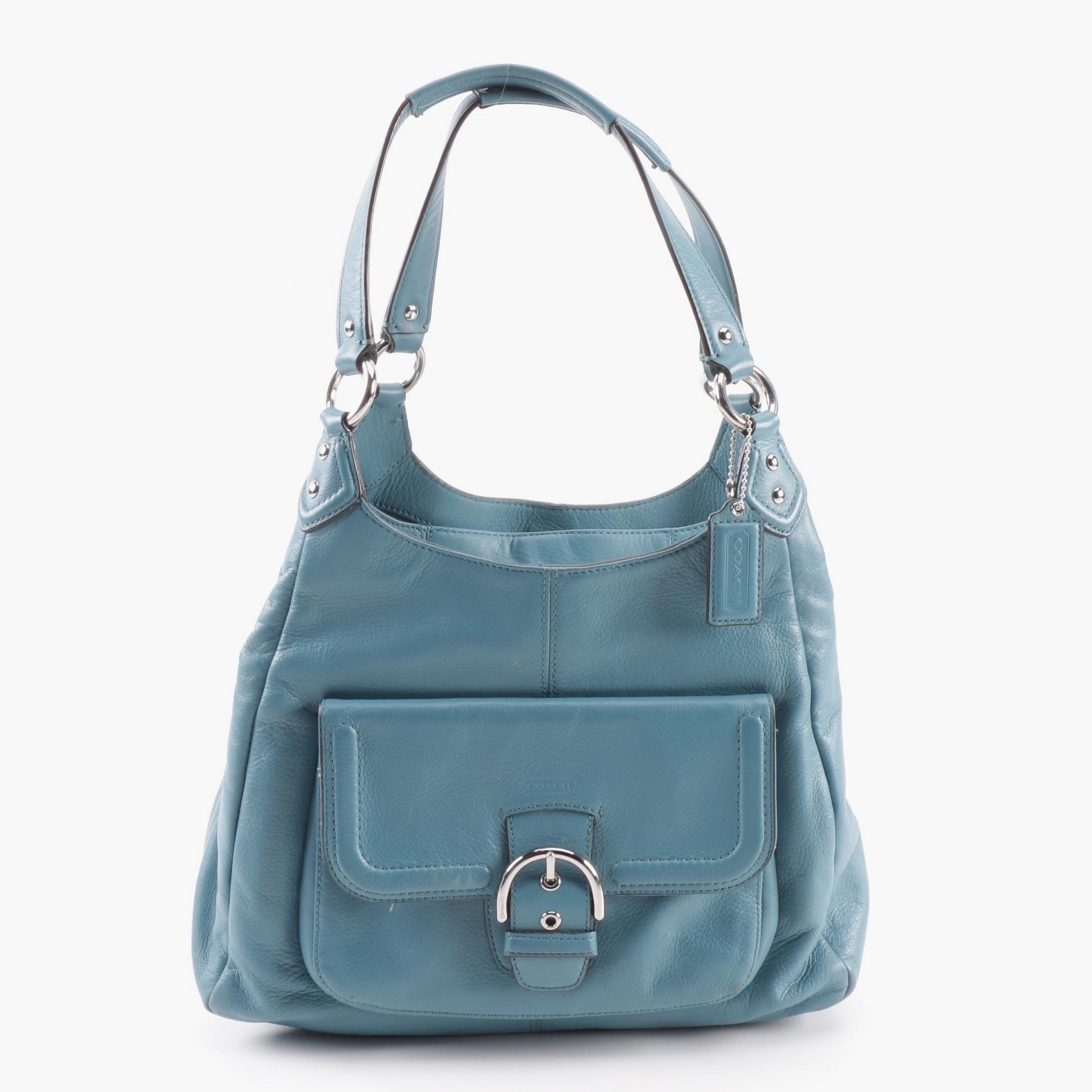 2013 Coach Campbell Teal Leather Hobo Bag